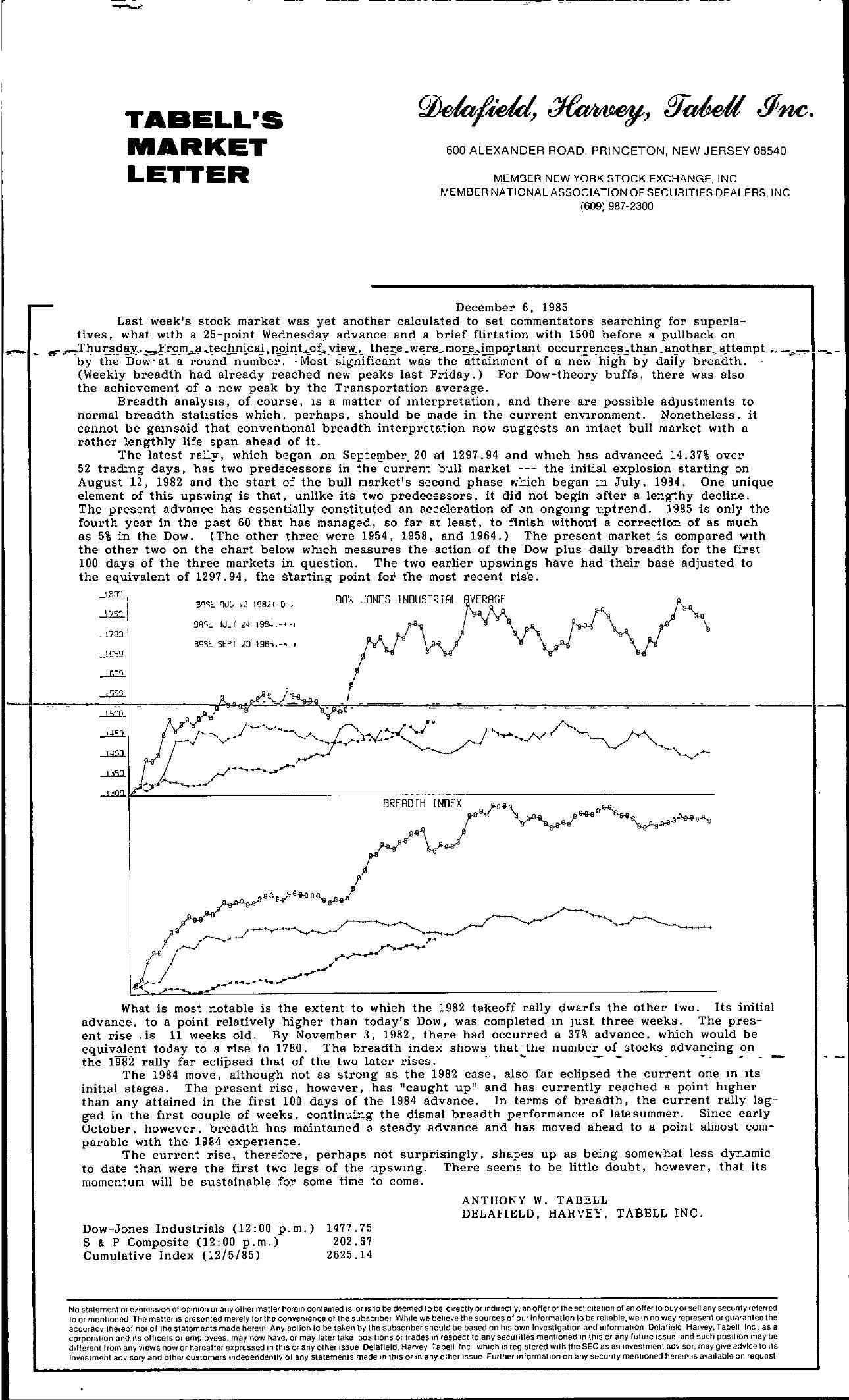 Tabell's Market Letter - December 06, 1985