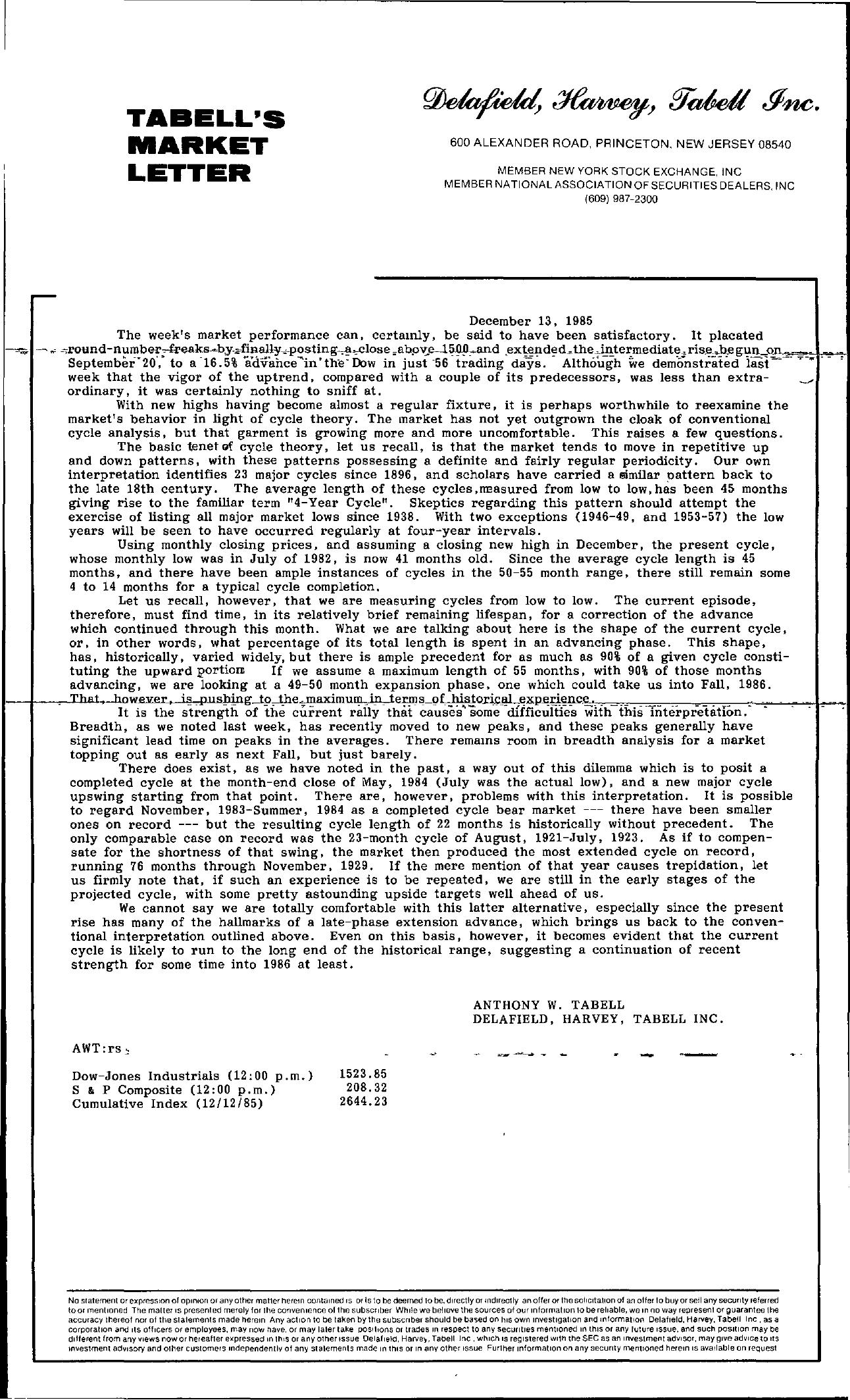 Tabell's Market Letter - December 13, 1985