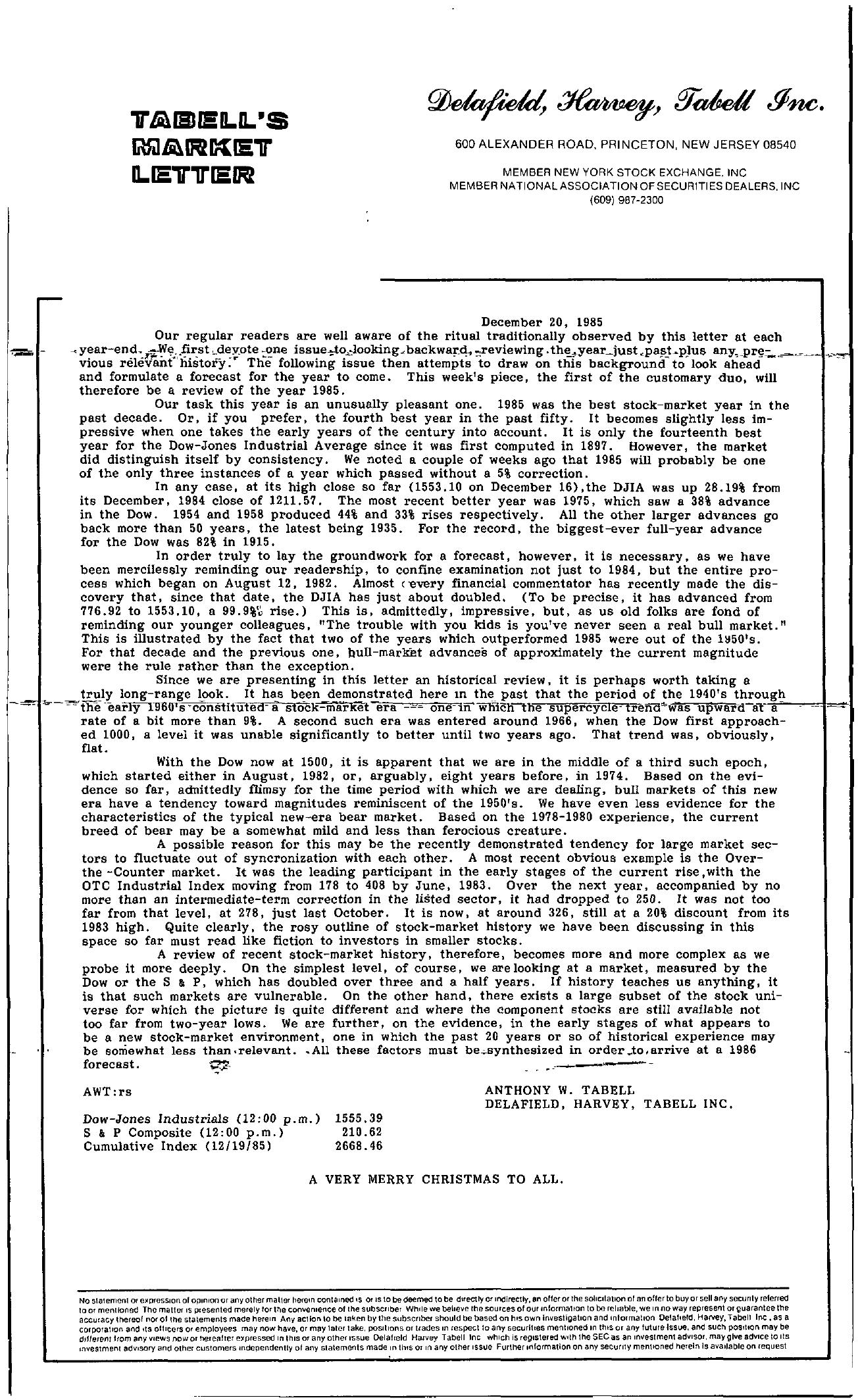 Tabell's Market Letter - December 20, 1985