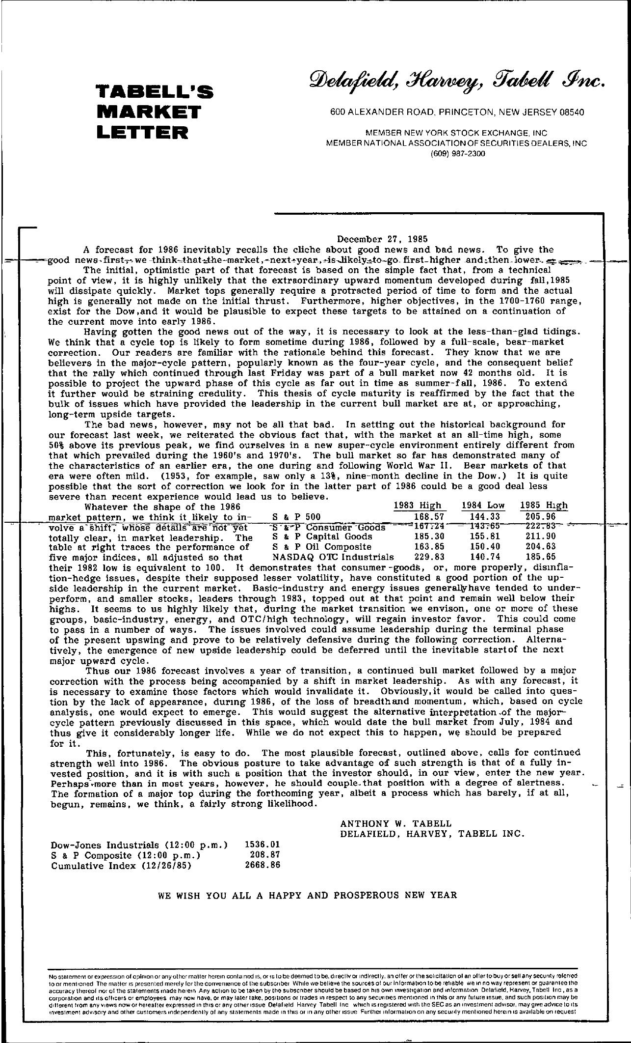 Tabell's Market Letter - December 27, 1985