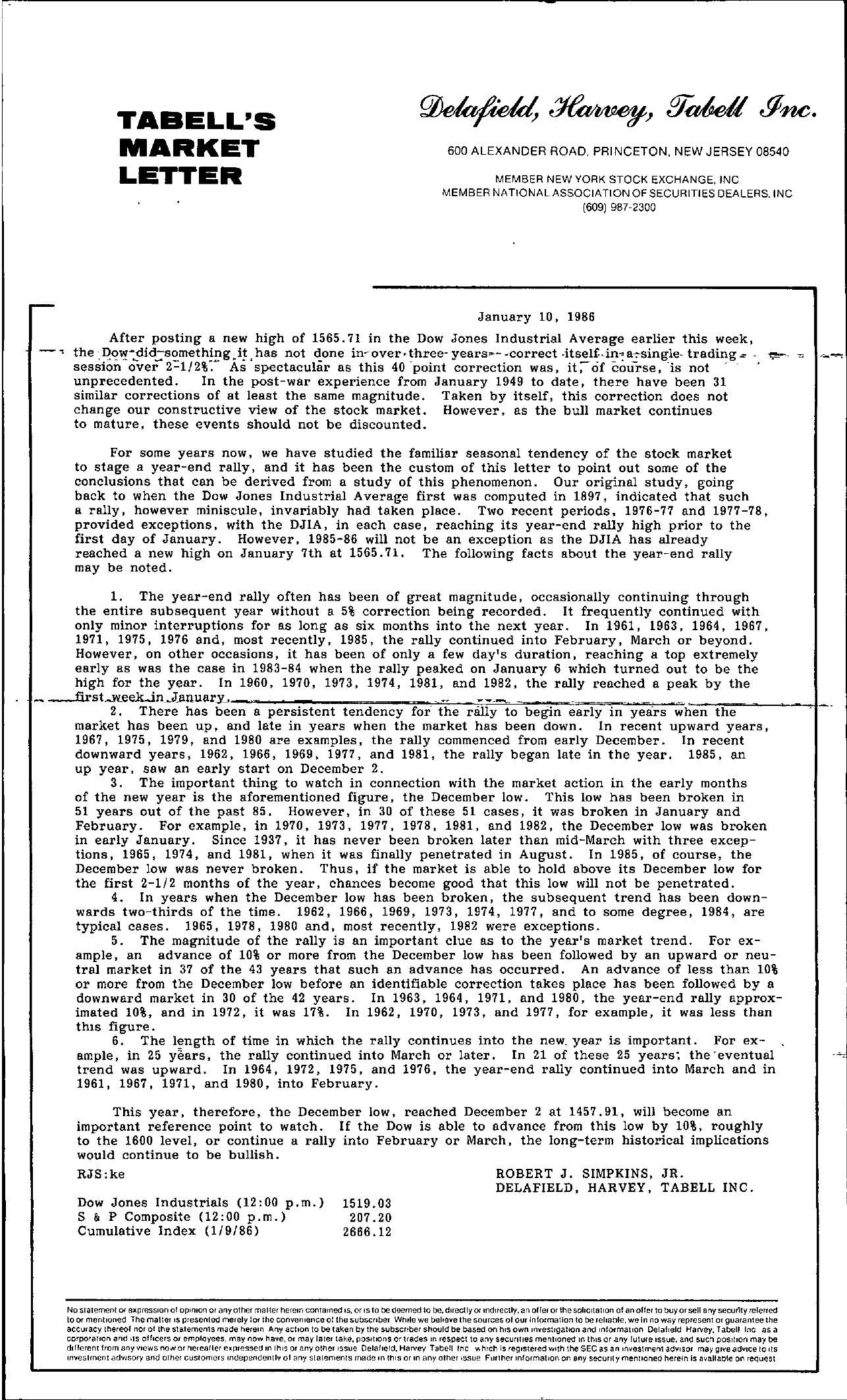 Tabell's Market Letter - January 10, 1986
