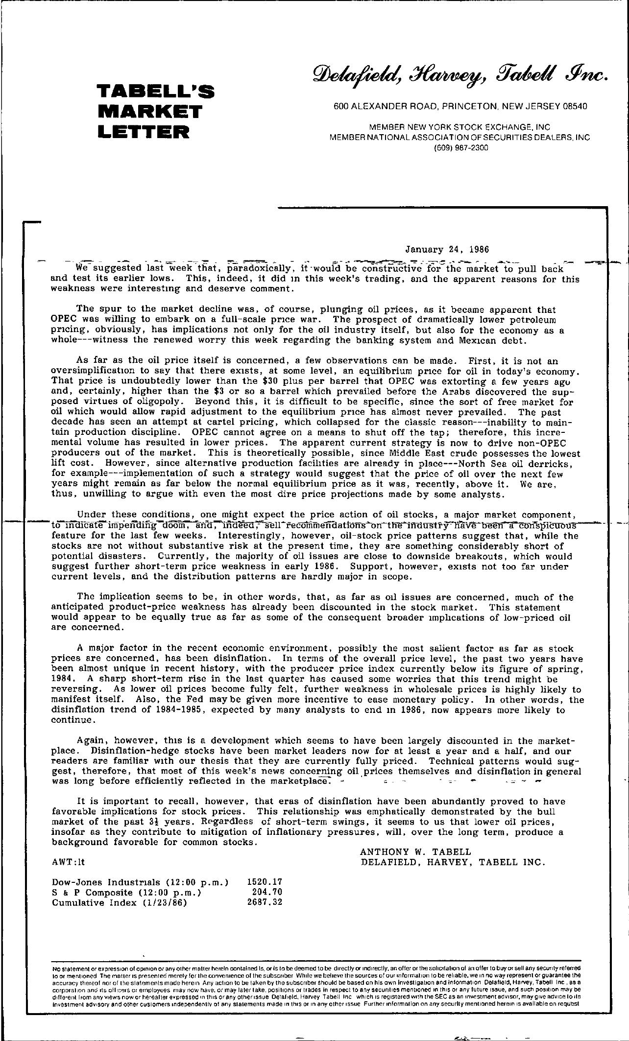 Tabell's Market Letter - January 24, 1986
