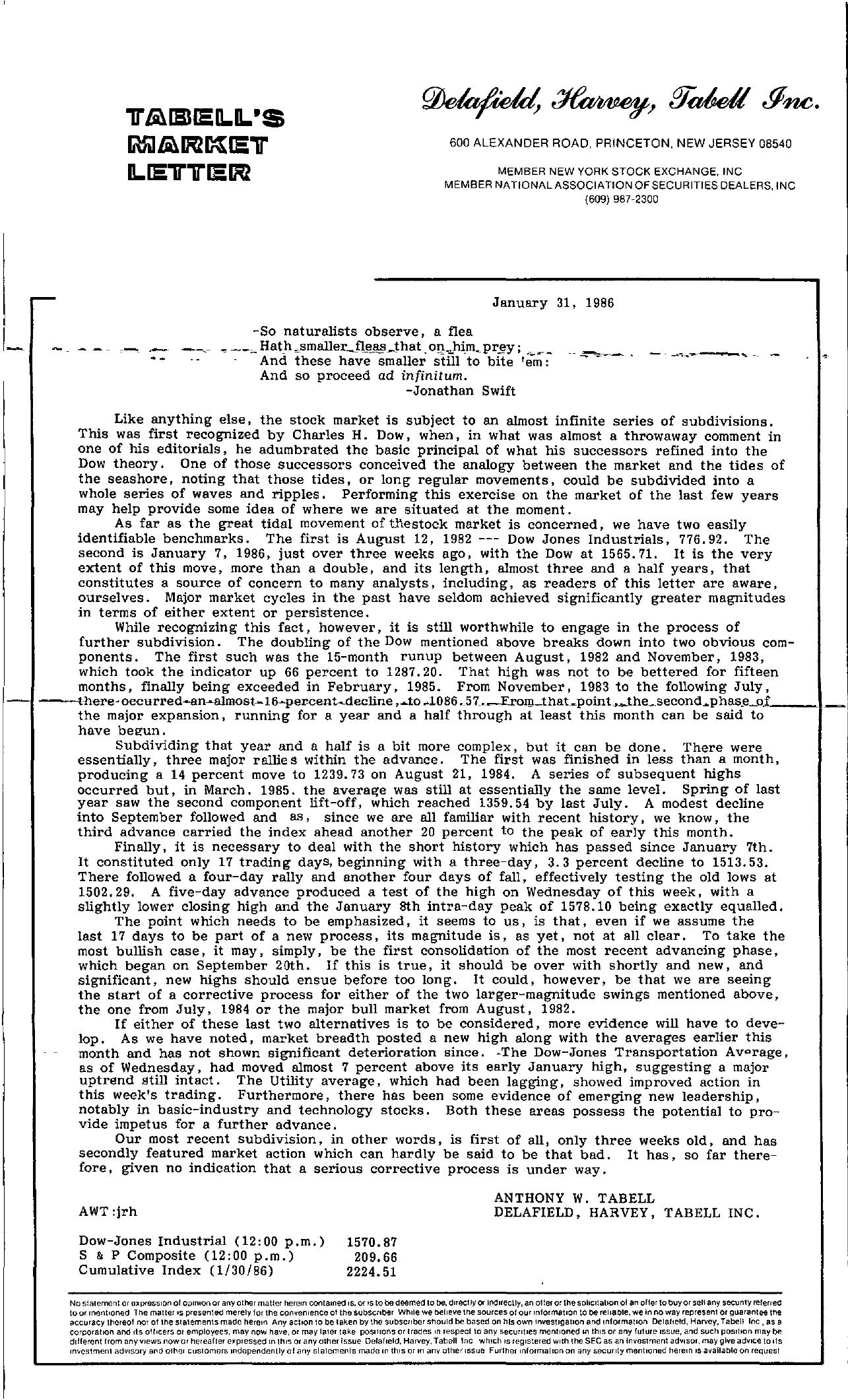 Tabell's Market Letter - January 31, 1986