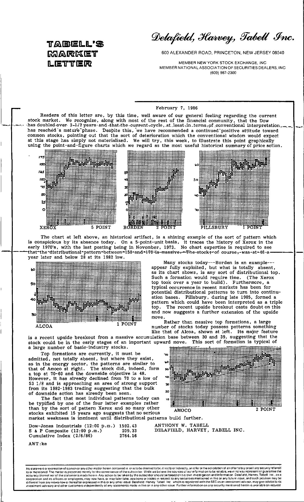 Tabell's Market Letter - February 07, 1986