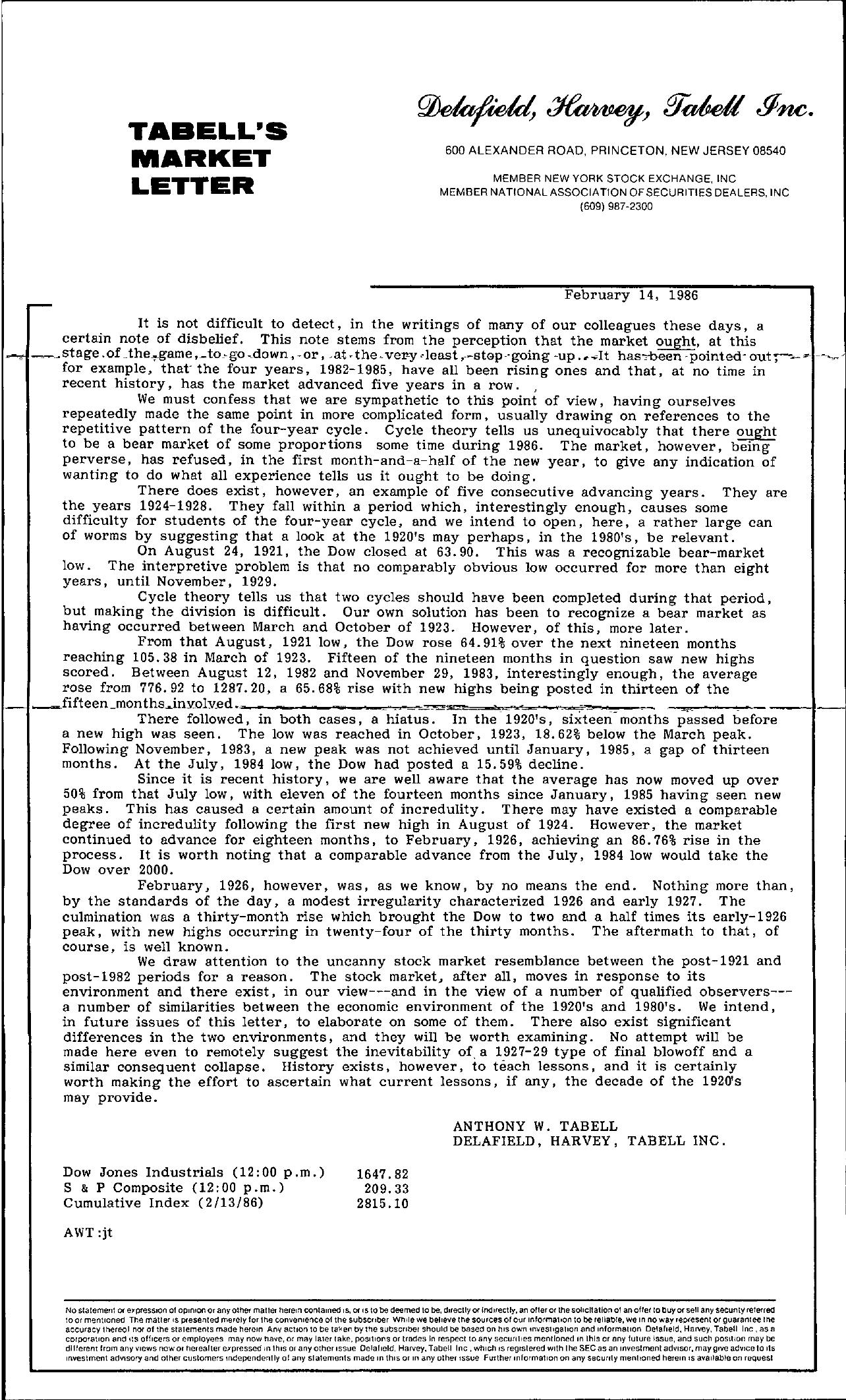 Tabell's Market Letter - February 14, 1986