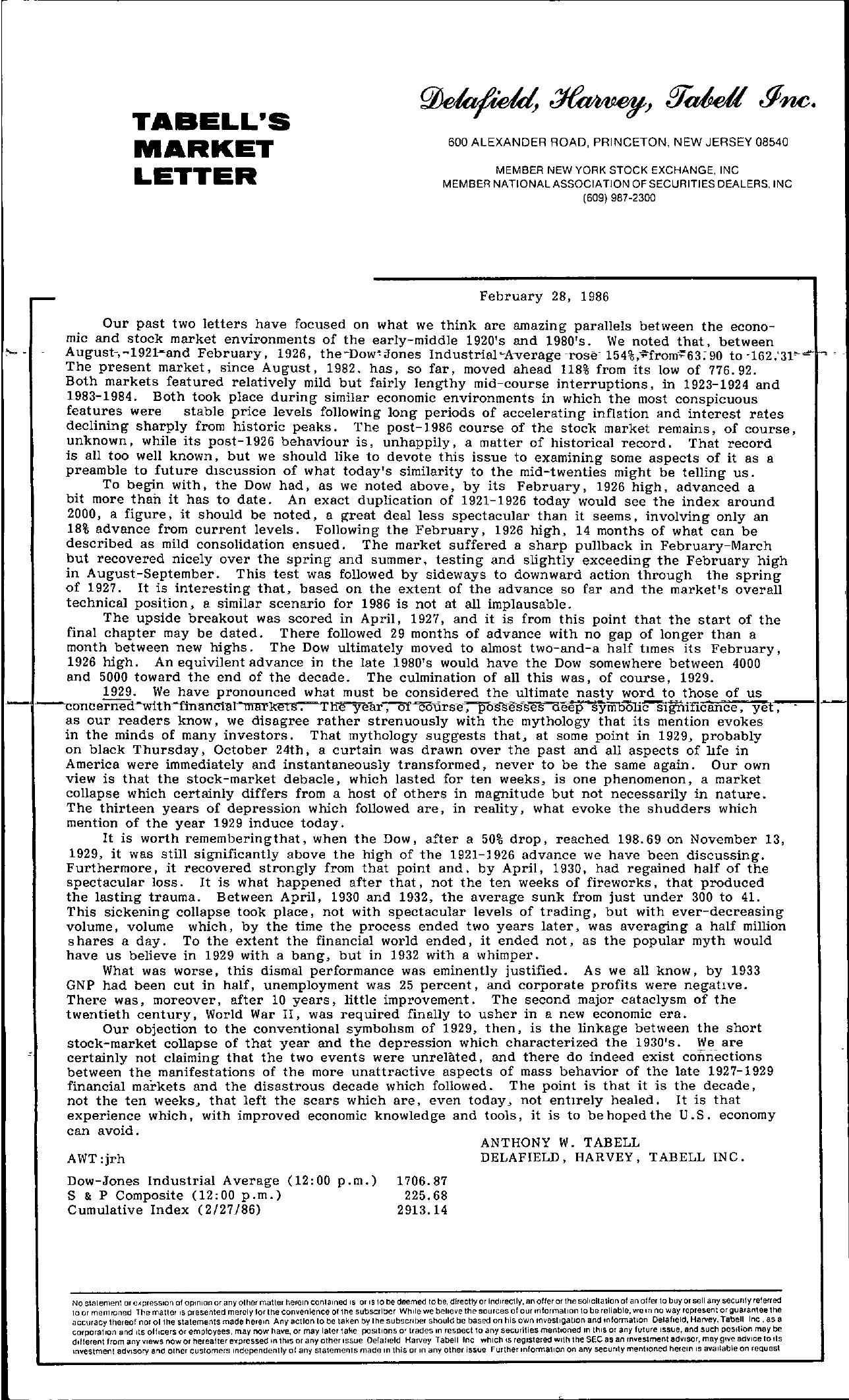 Tabell's Market Letter - February 28, 1986