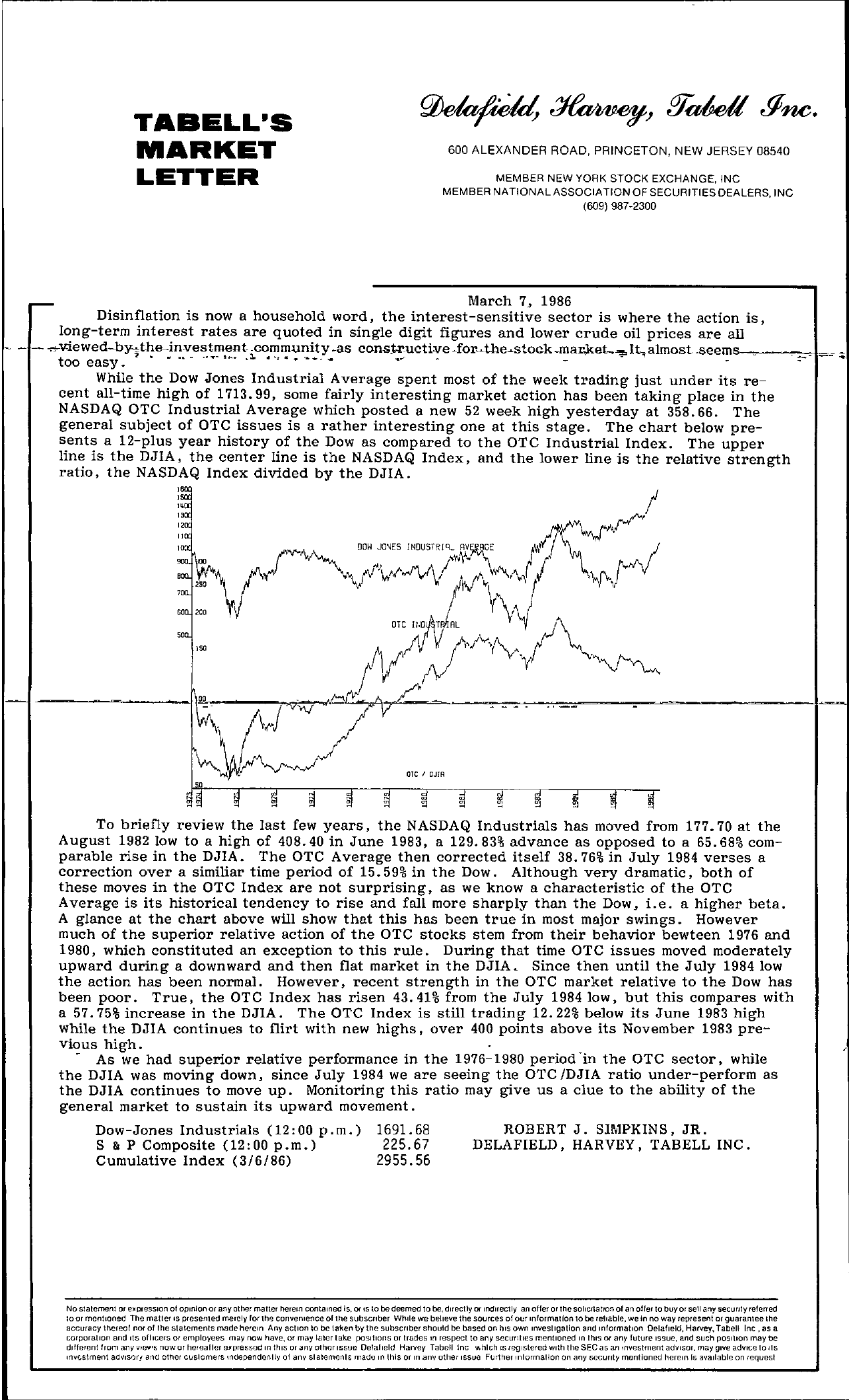 Tabell's Market Letter - March 07, 1986