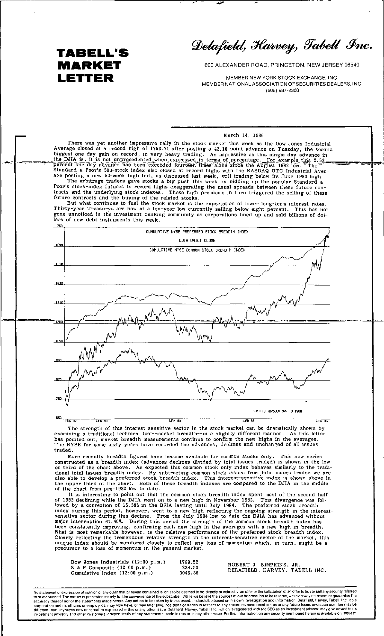 Tabell's Market Letter - March 14, 1986