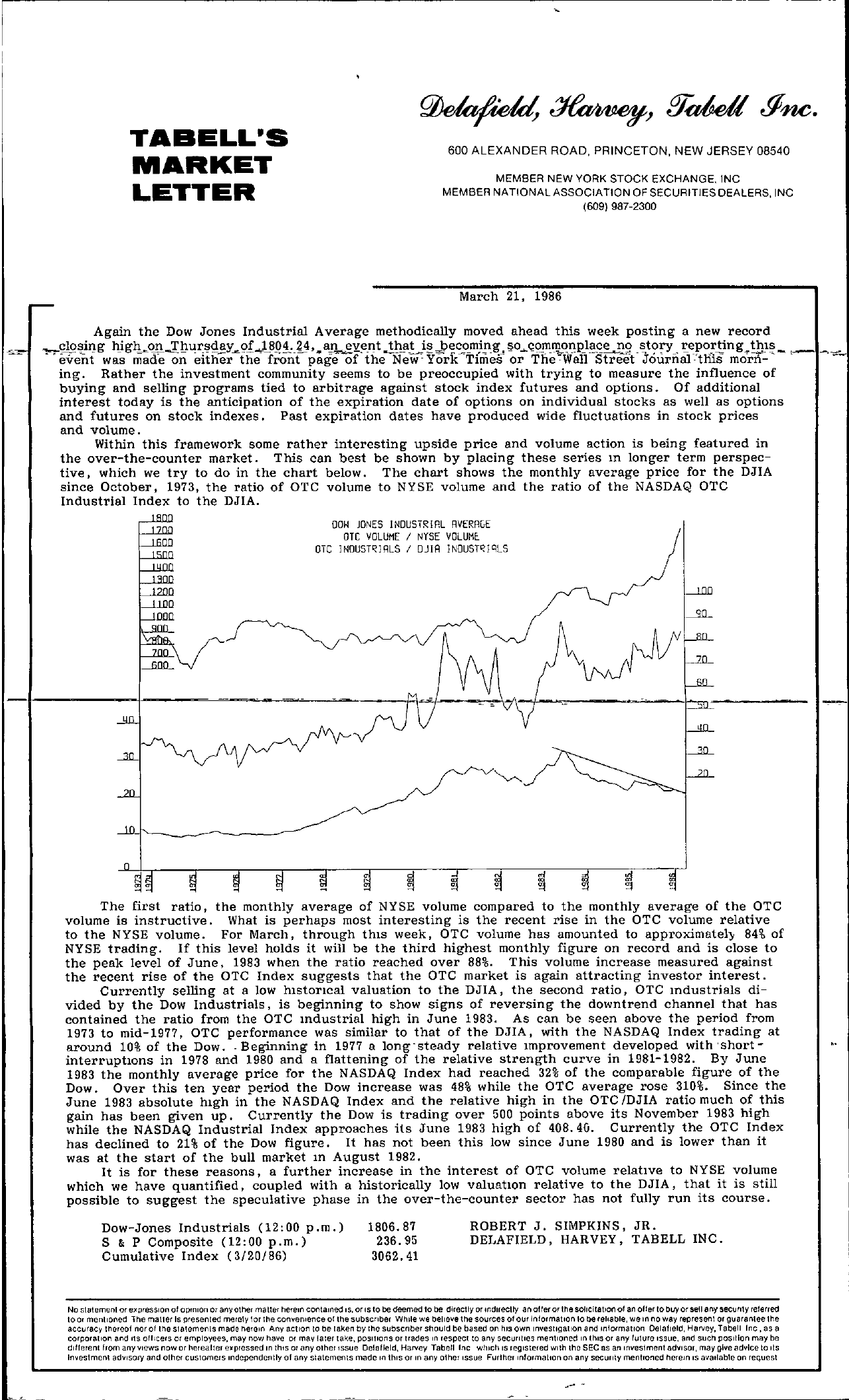 Tabell's Market Letter - March 21, 1986