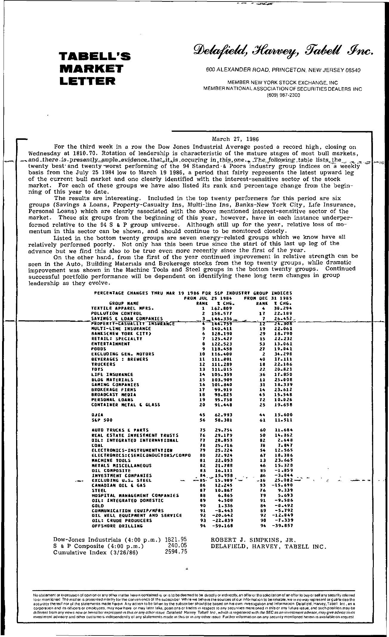 Tabell's Market Letter - March 27, 1986