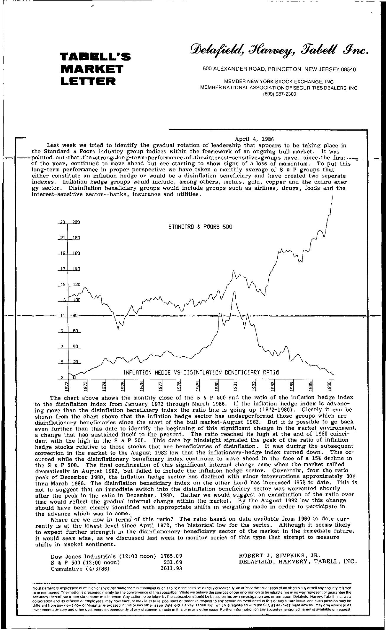 Tabell's Market Letter - April 04, 1986