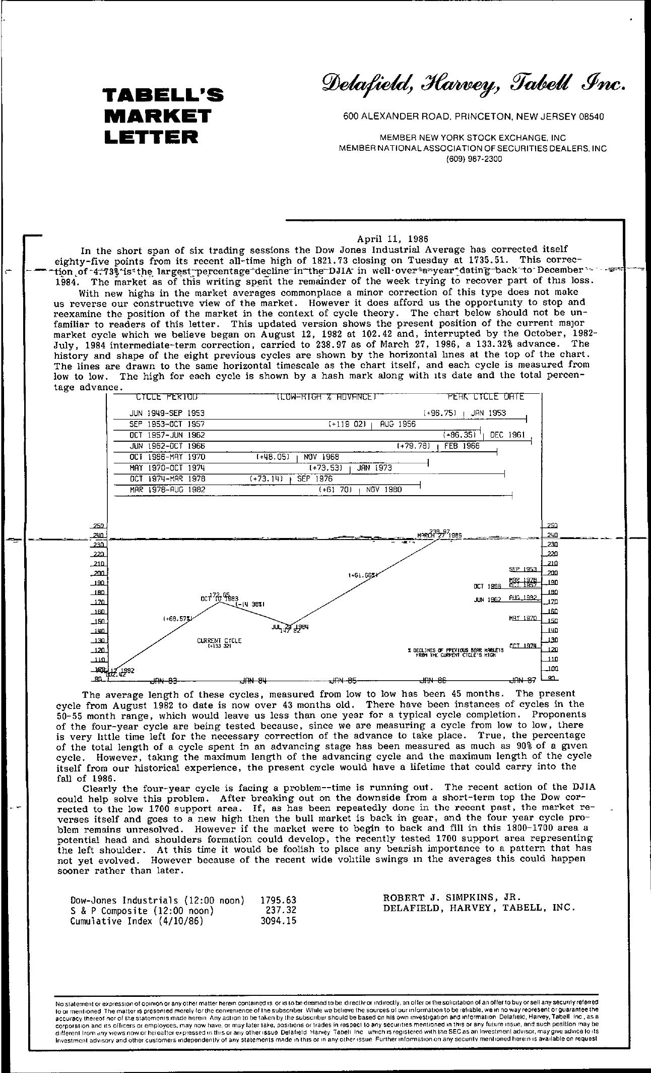 Tabell's Market Letter - April 11, 1986