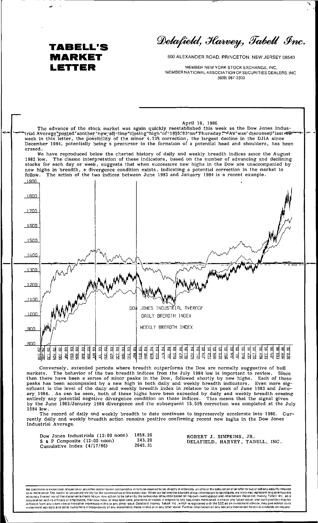 Tabell's Market Letter - April 18, 1986
