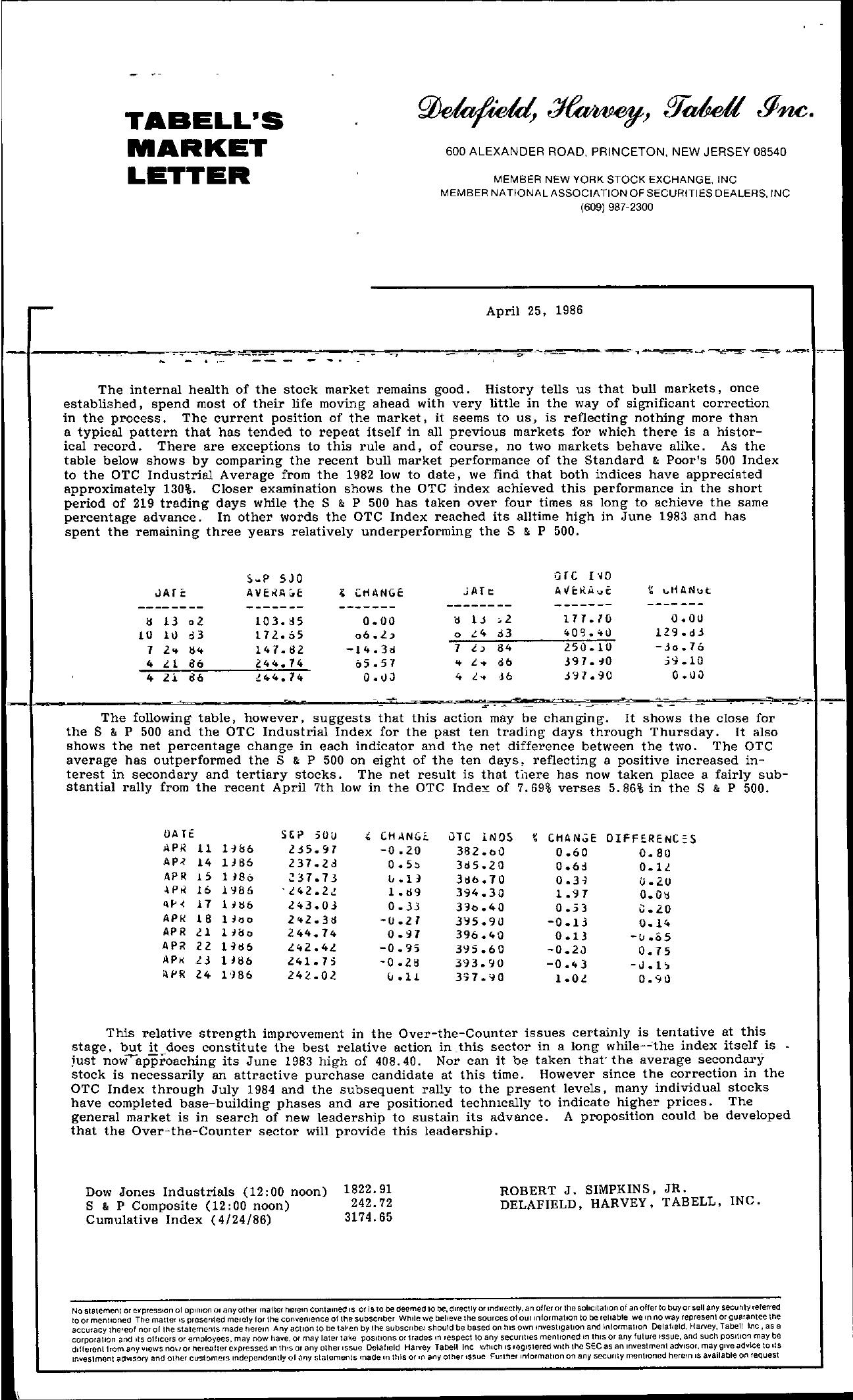 Tabell's Market Letter - April 25, 1986