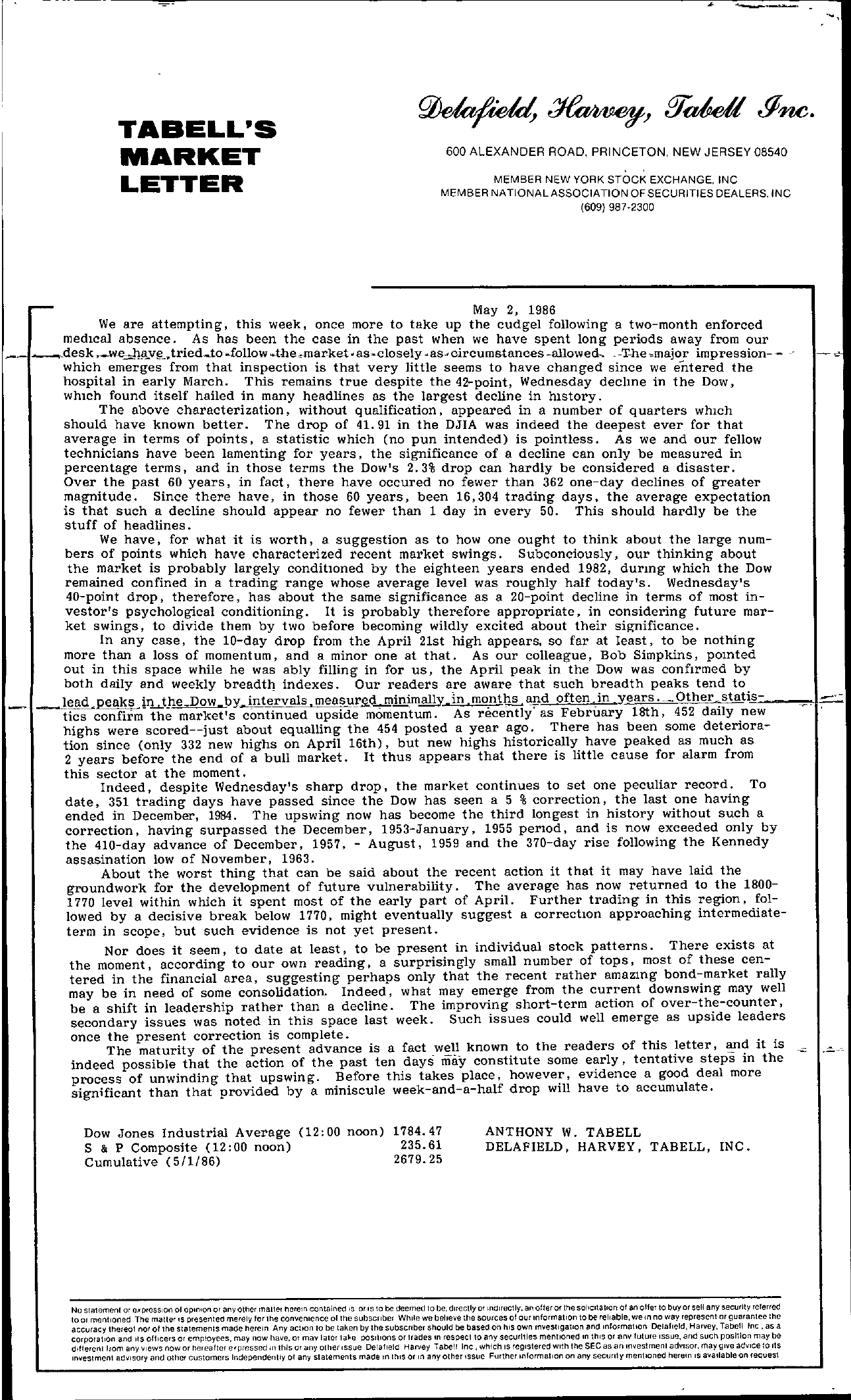 Tabell's Market Letter - May 02, 1986