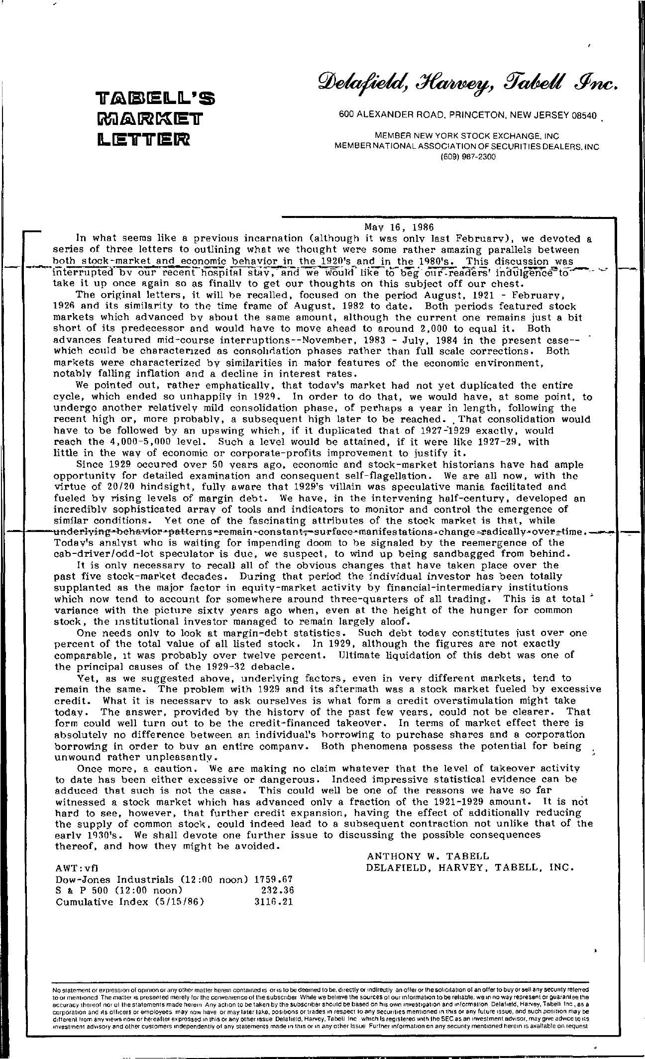 Tabell's Market Letter - May 16, 1986
