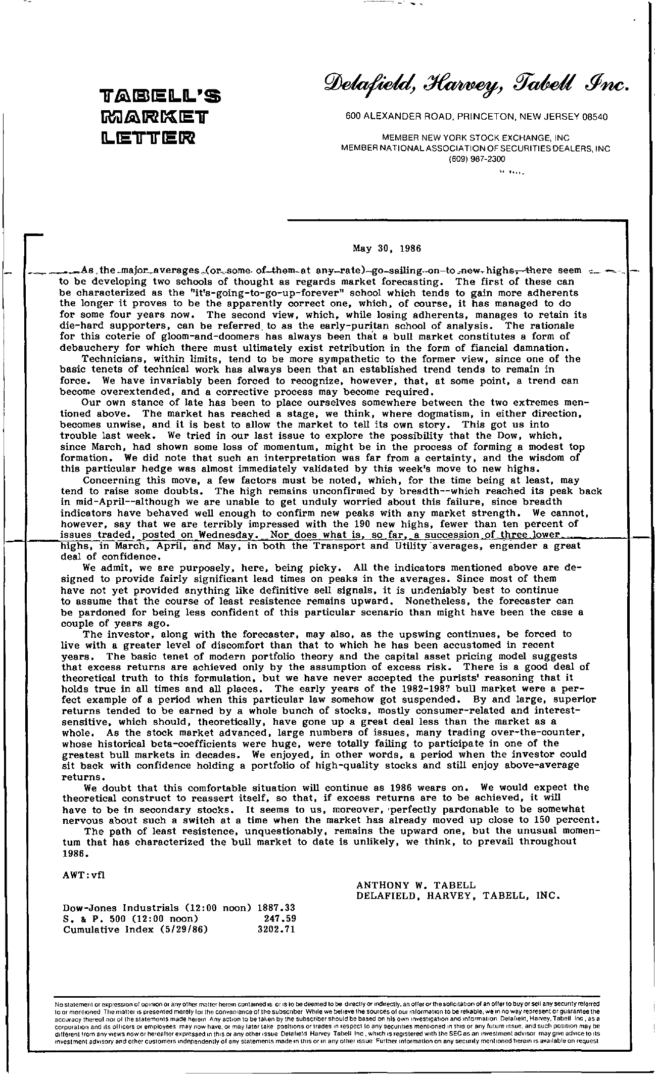 Tabell's Market Letter - May 30, 1986