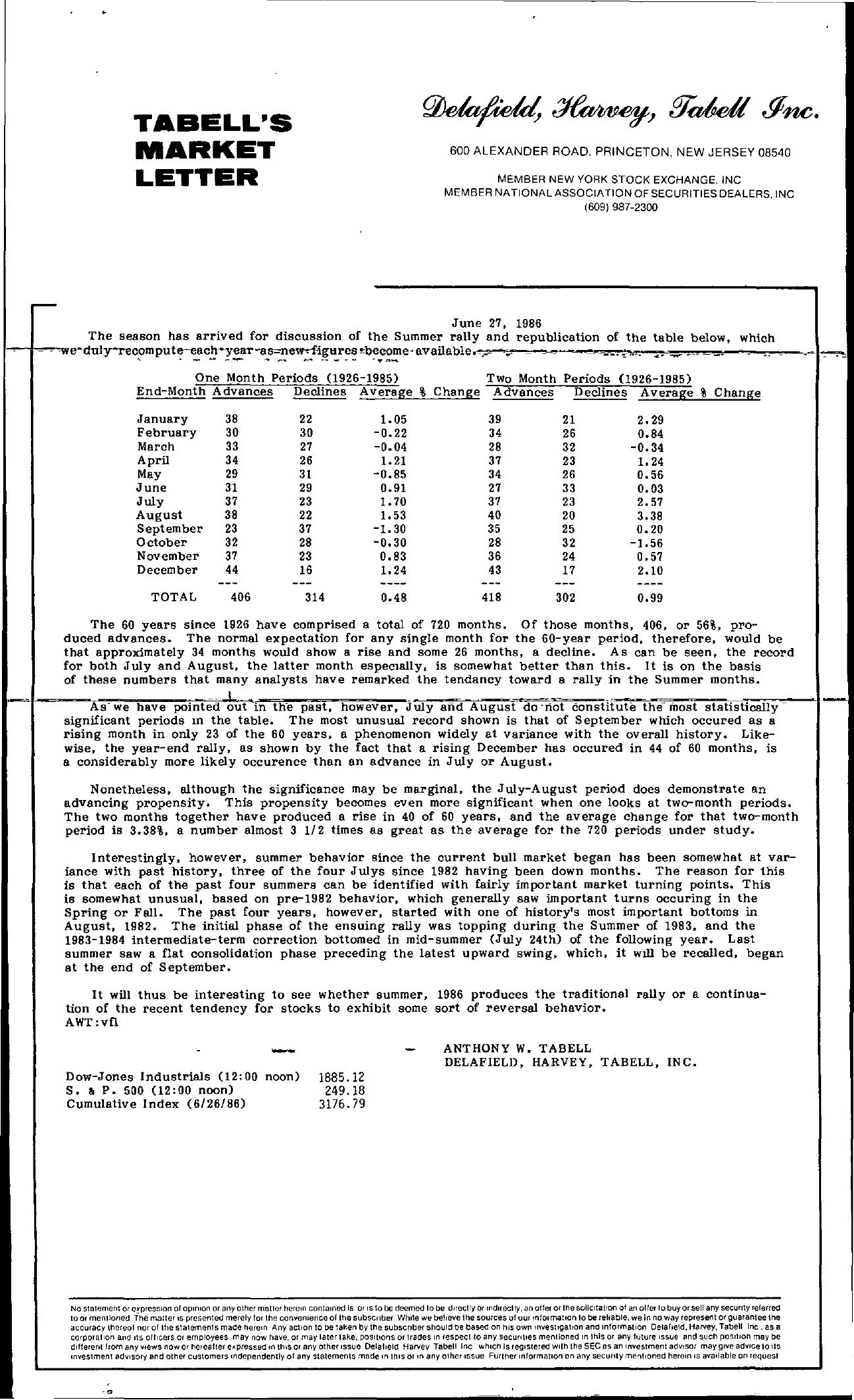 Tabell's Market Letter - June 27, 1986