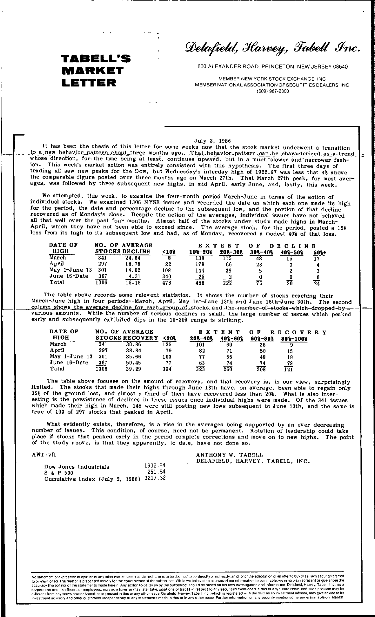 Tabell's Market Letter - July 03, 1986