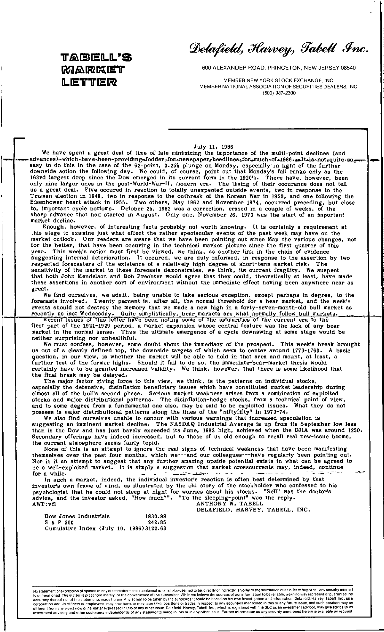 Tabell's Market Letter - July 11, 1986