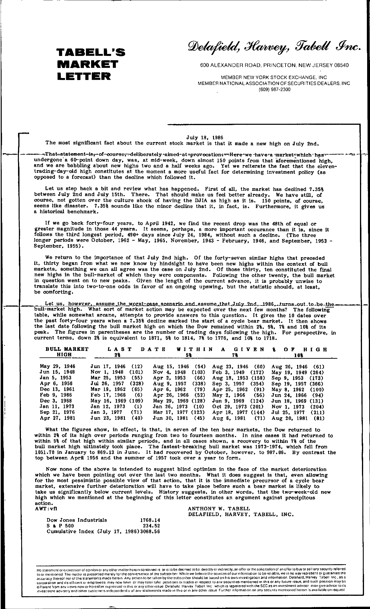 Tabell's Market Letter - July 18, 1986