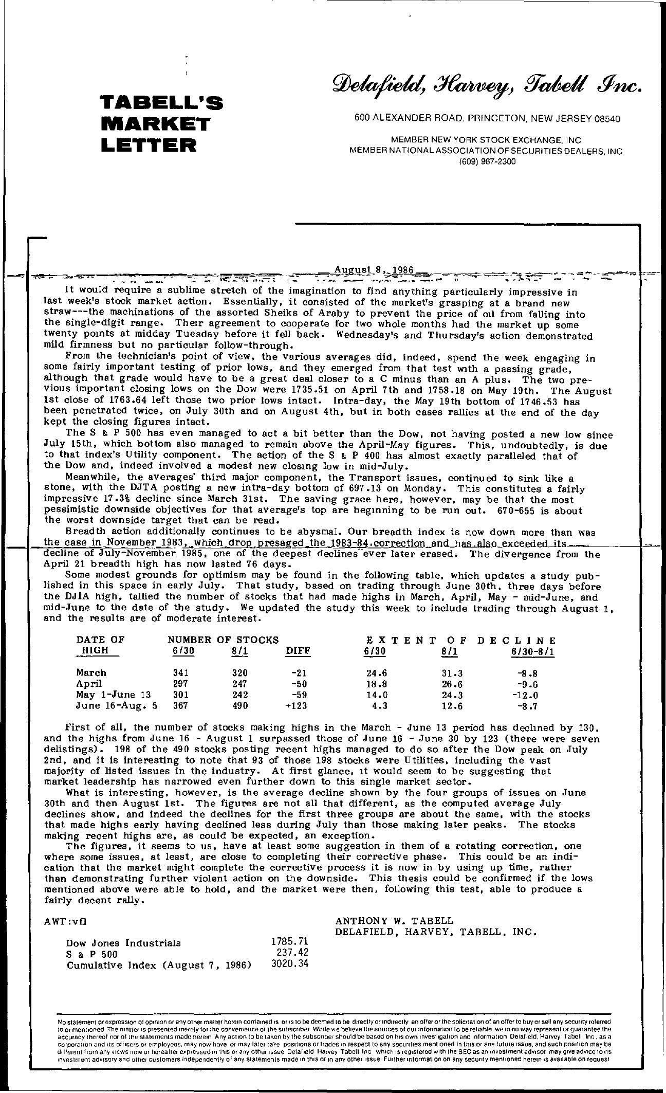 Tabell's Market Letter - August 08, 1986