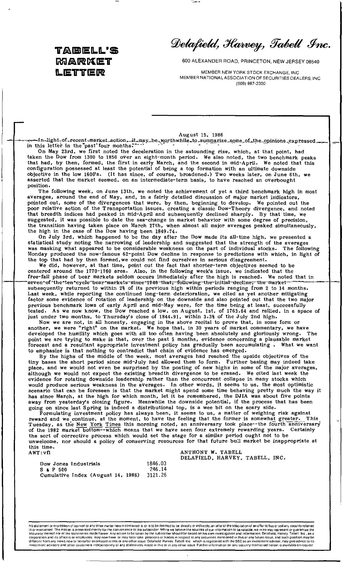 Tabell's Market Letter - August 15, 1986