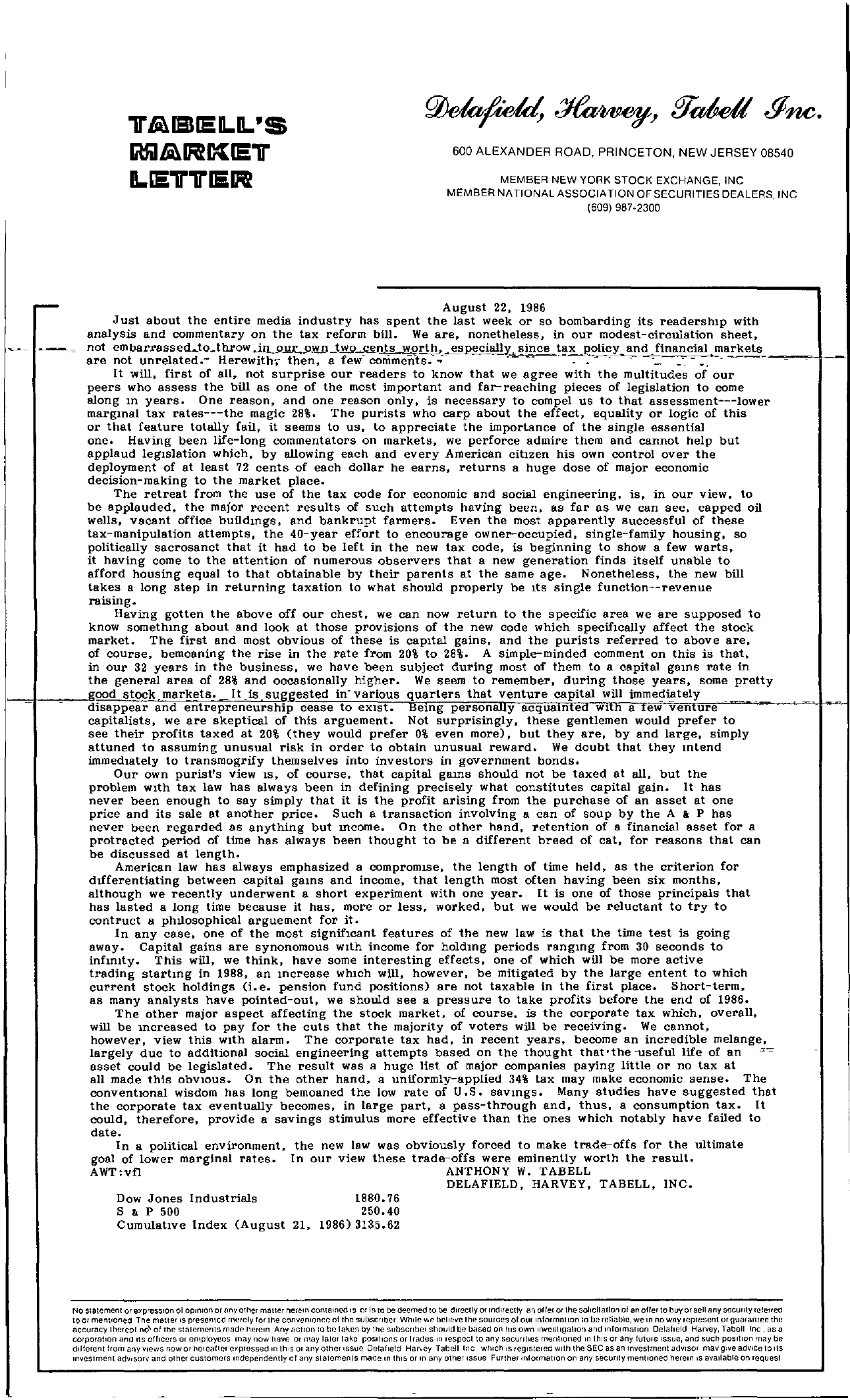 Tabell's Market Letter - August 22, 1986