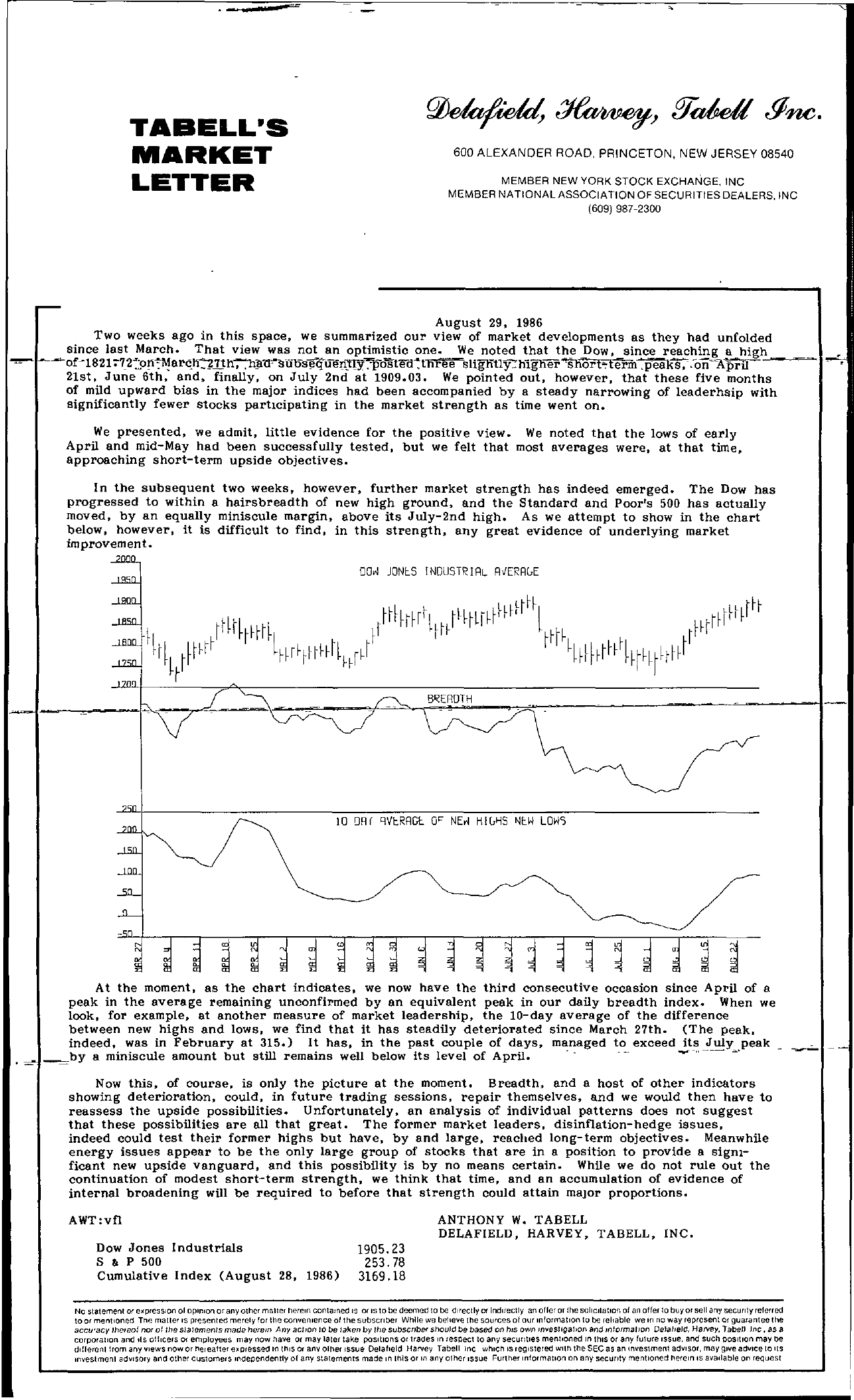 Tabell's Market Letter - August 29, 1986