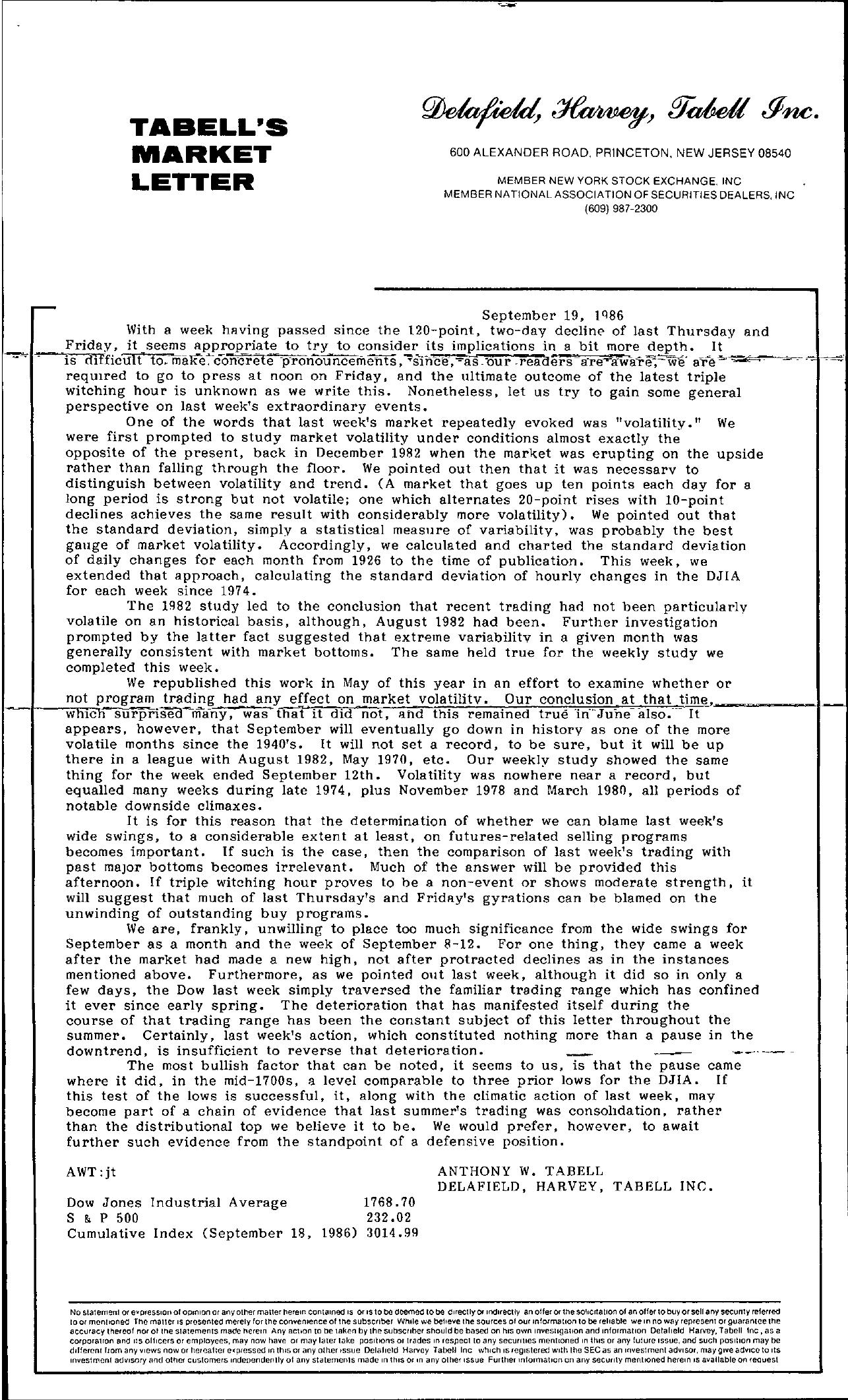 Tabell's Market Letter - September 19, 1986