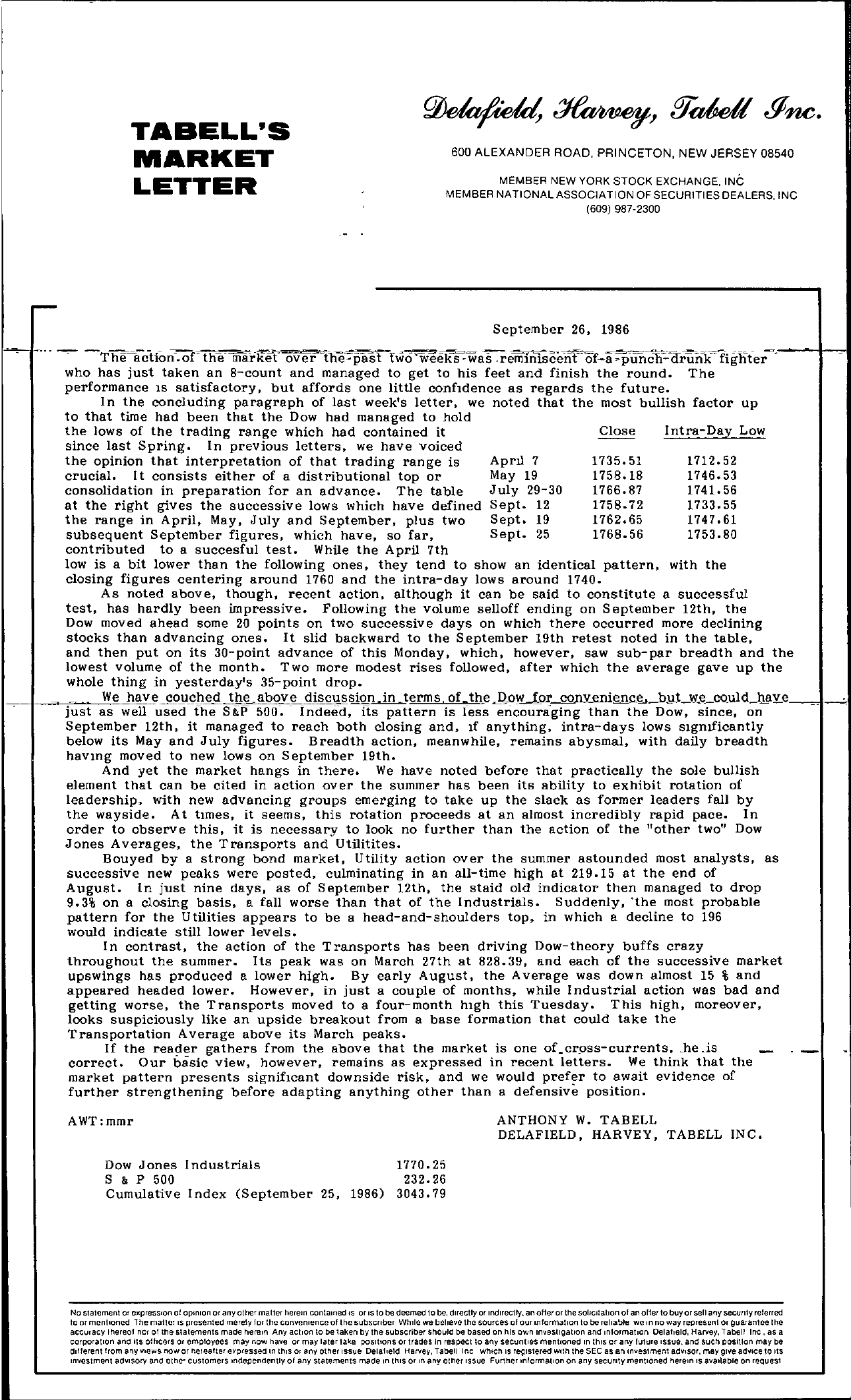 Tabell's Market Letter - September 26, 1986