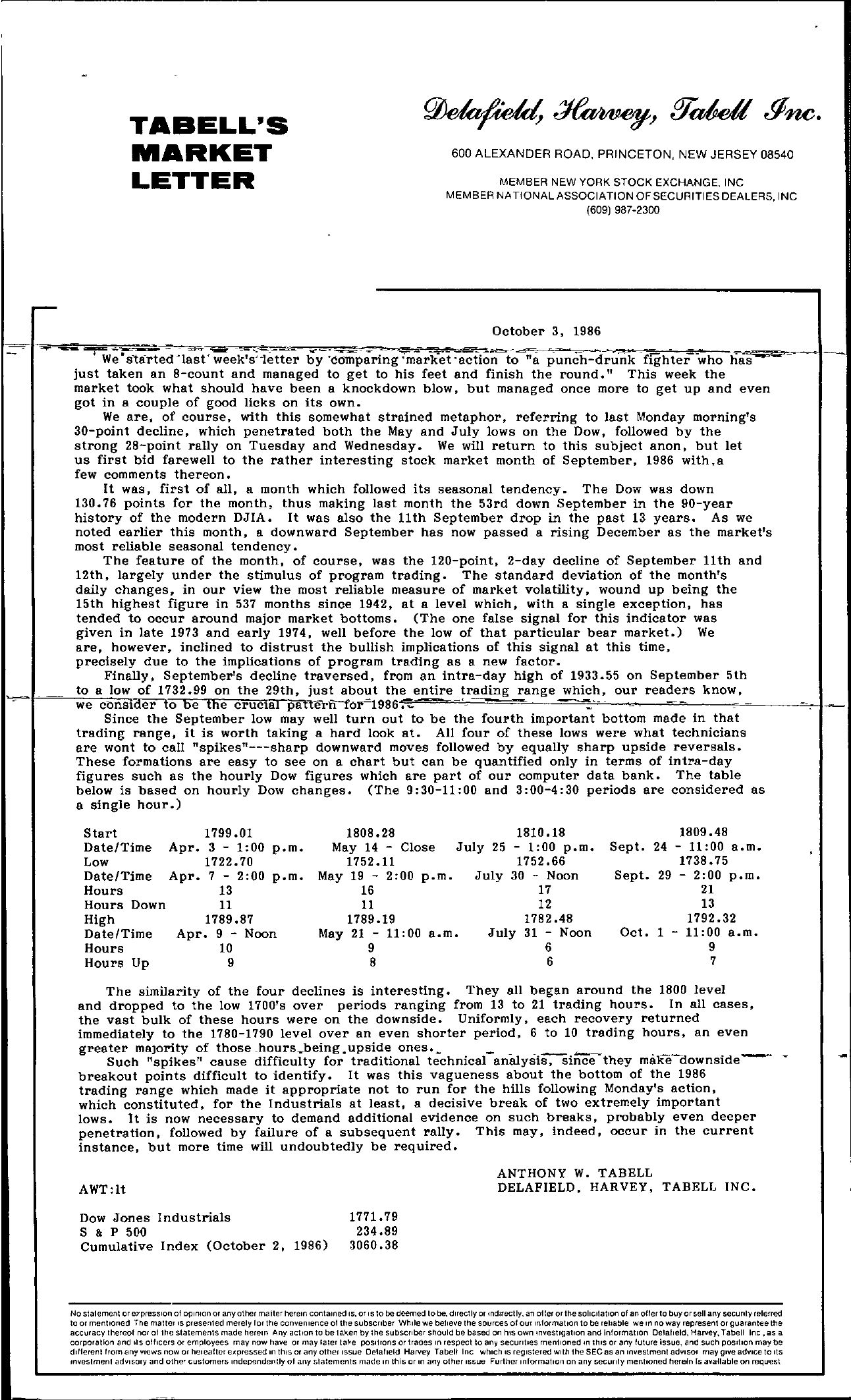 Tabell's Market Letter - October 03, 1986