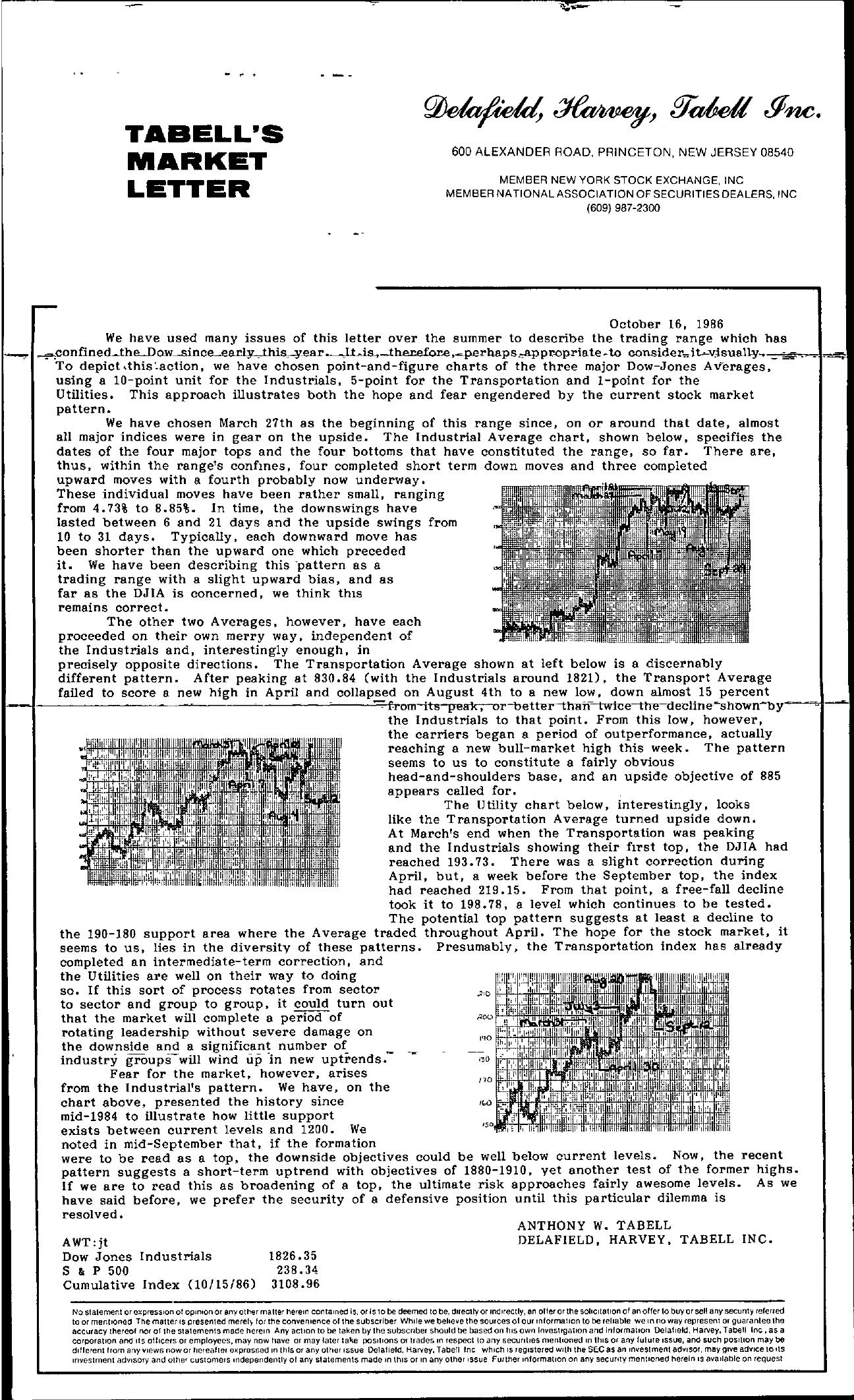 Tabell's Market Letter - October 16, 1986
