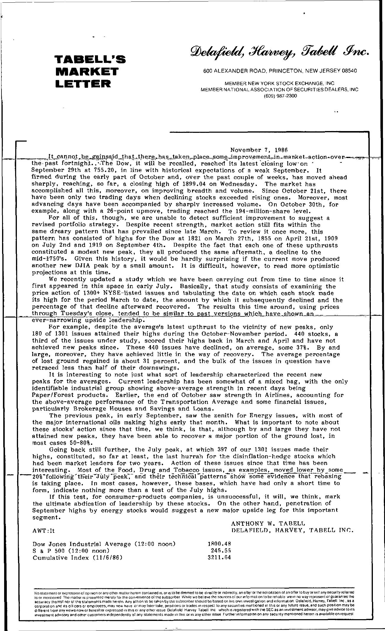 Tabell's Market Letter - November 07, 1986