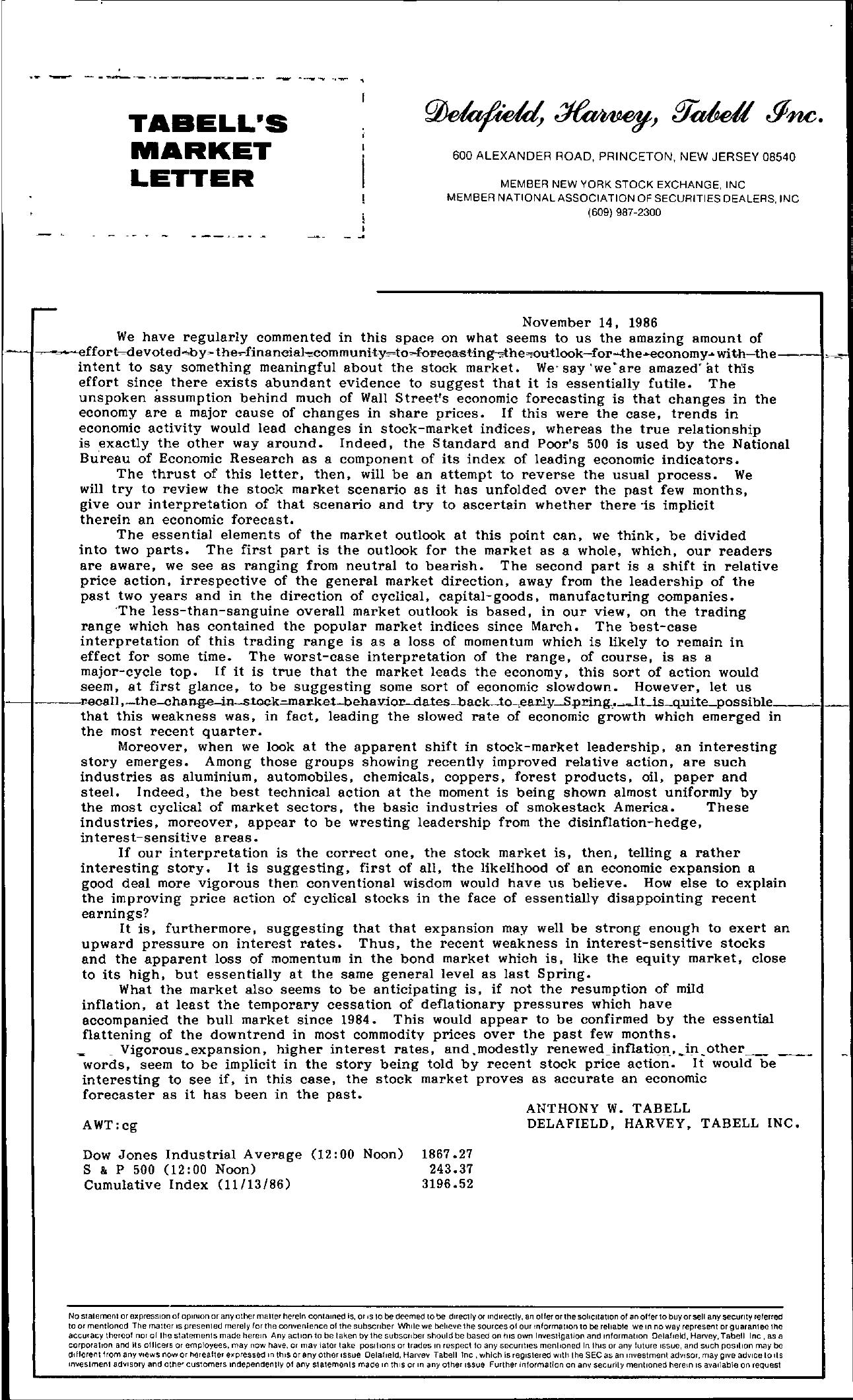 Tabell's Market Letter - November 14, 1986