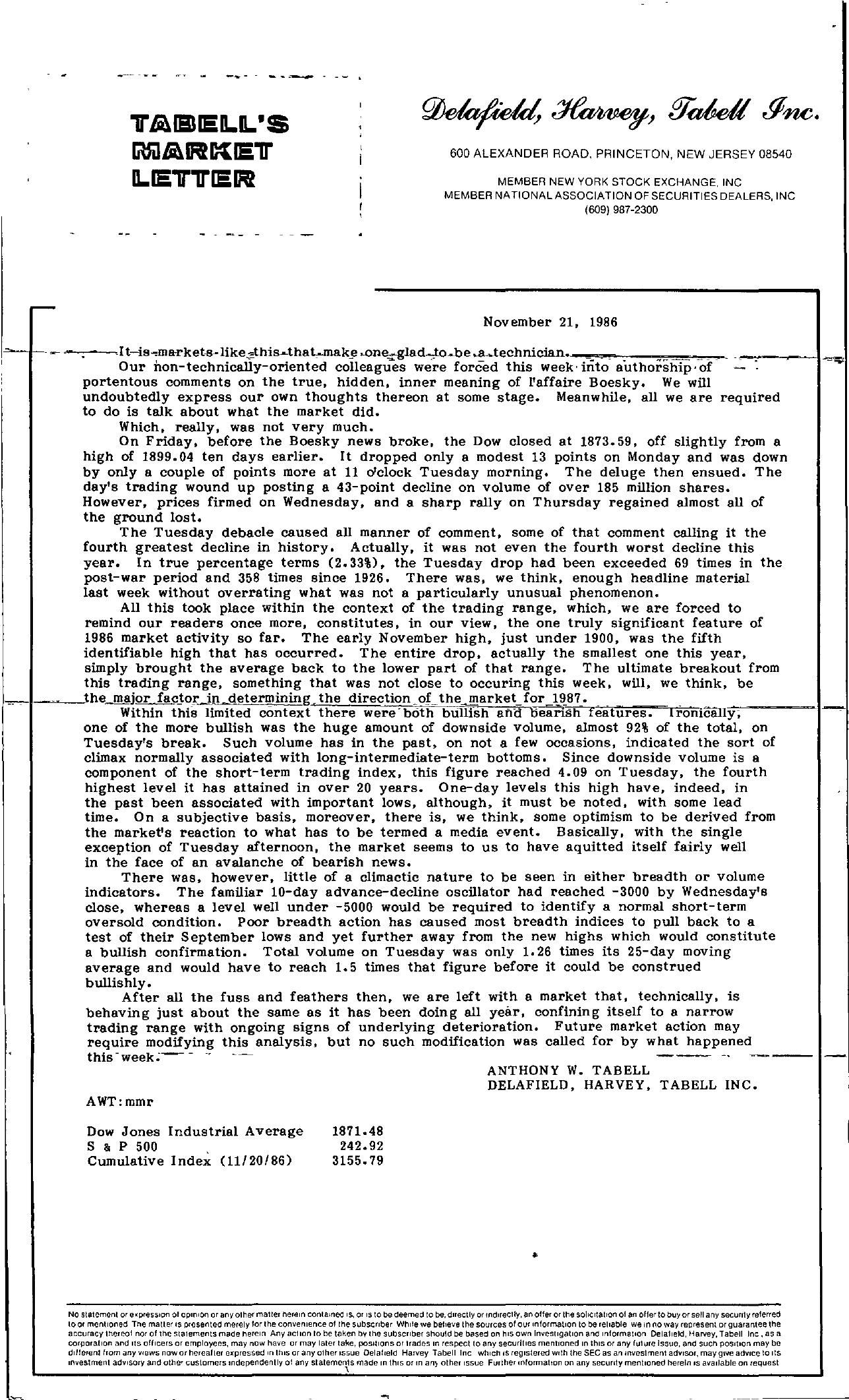 Tabell's Market Letter - November 21, 1986