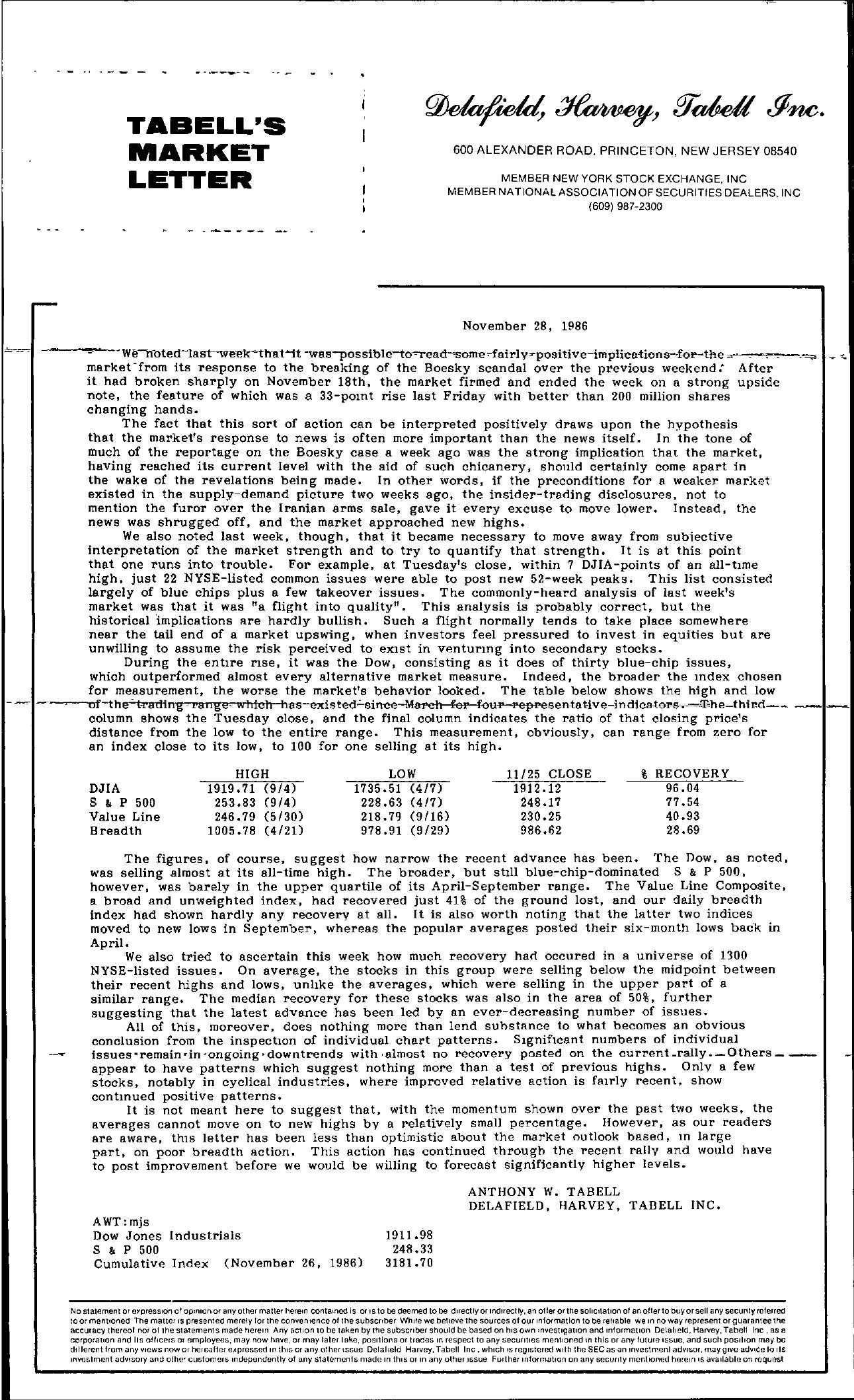Tabell's Market Letter - November 28, 1986