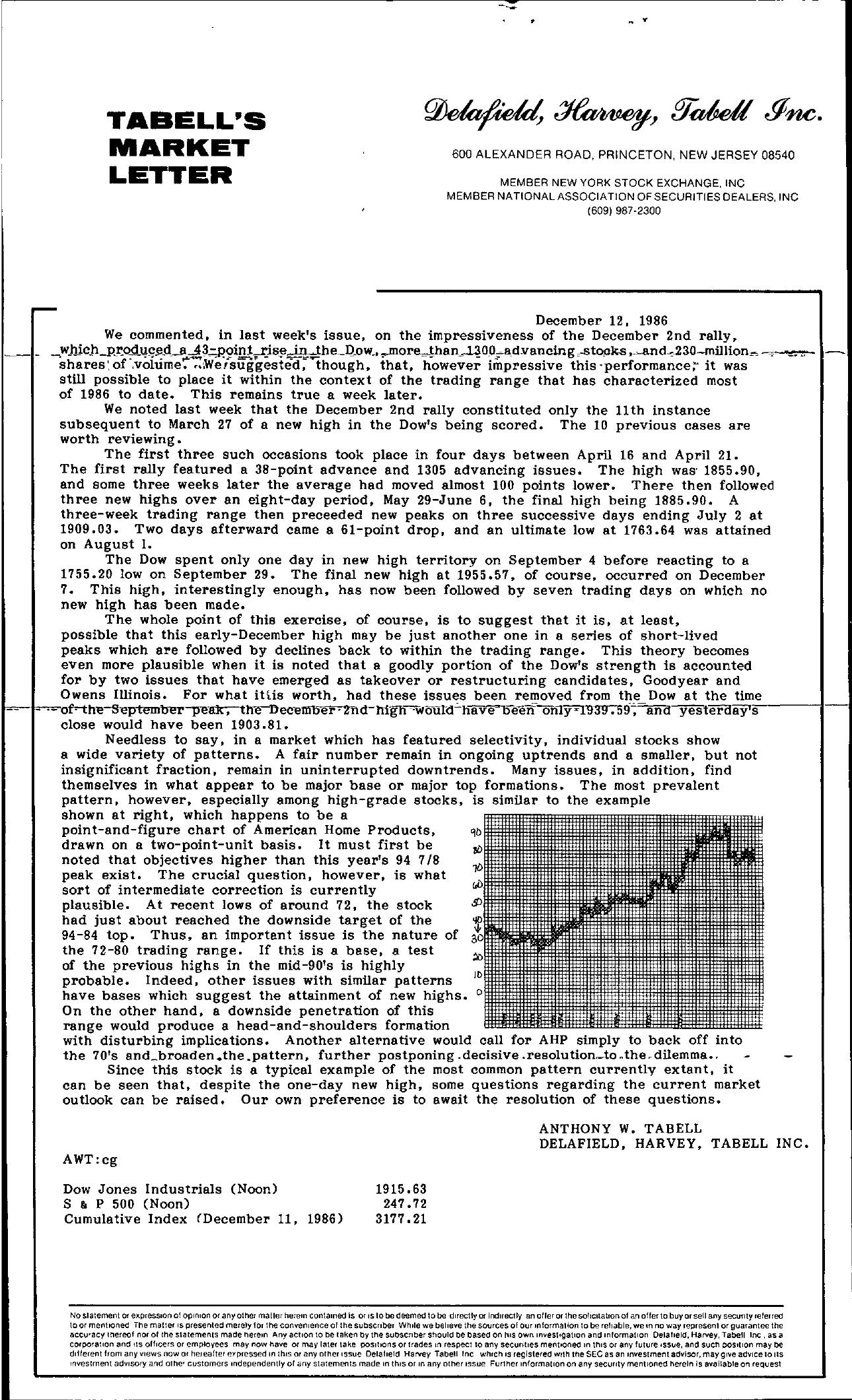 Tabell's Market Letter - December 12, 1986