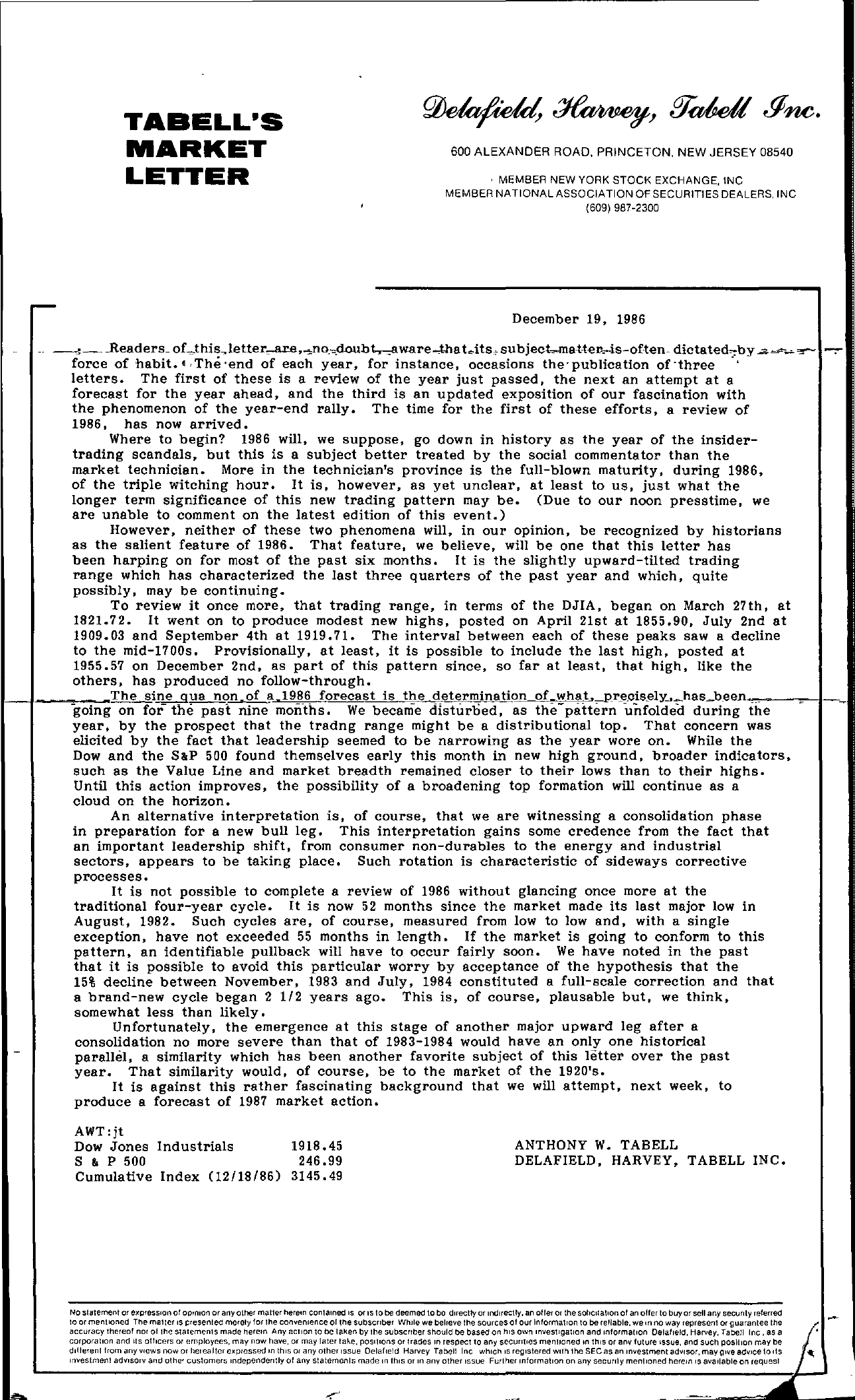 Tabell's Market Letter - December 19, 1986