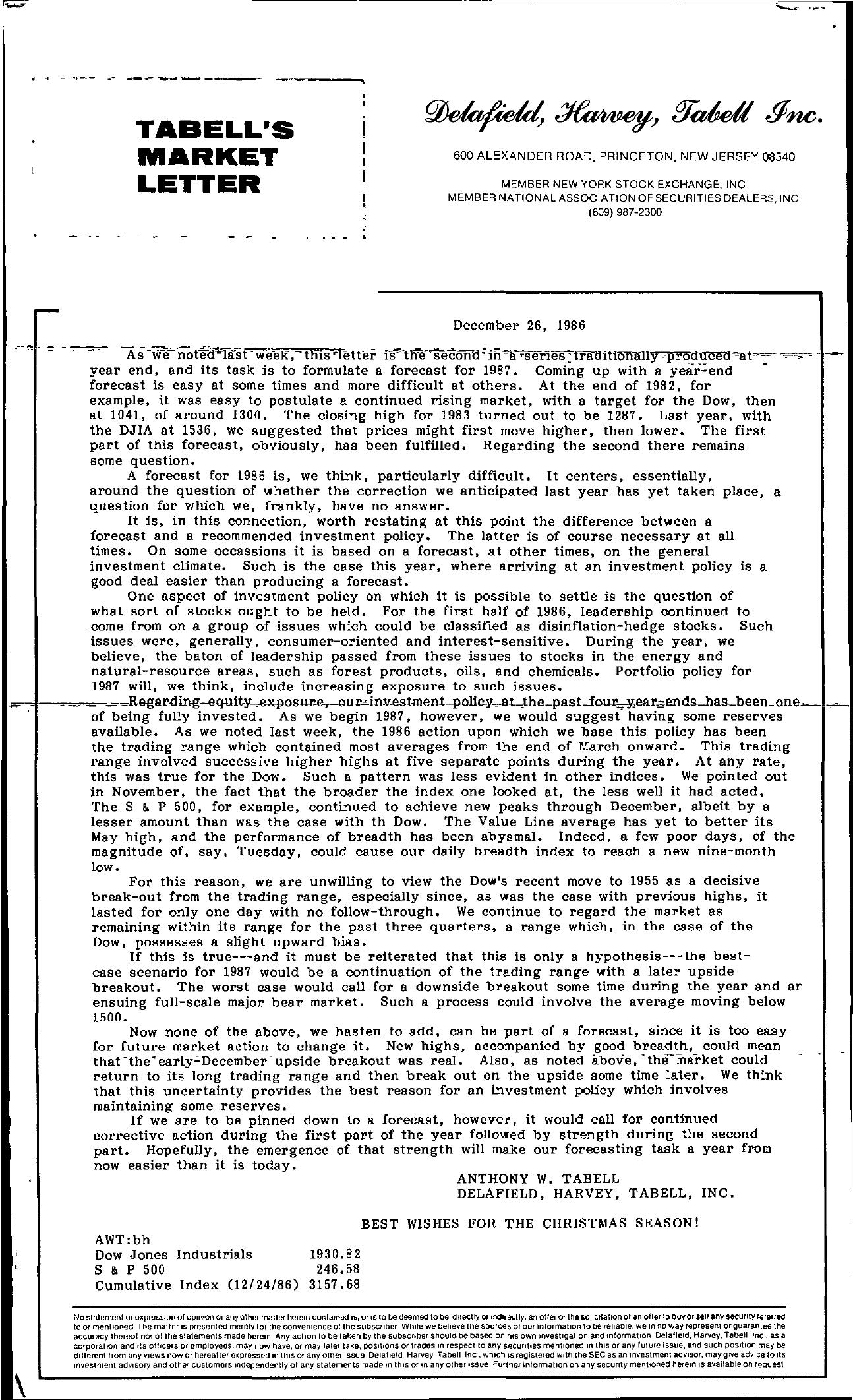 Tabell's Market Letter - December 26, 1986