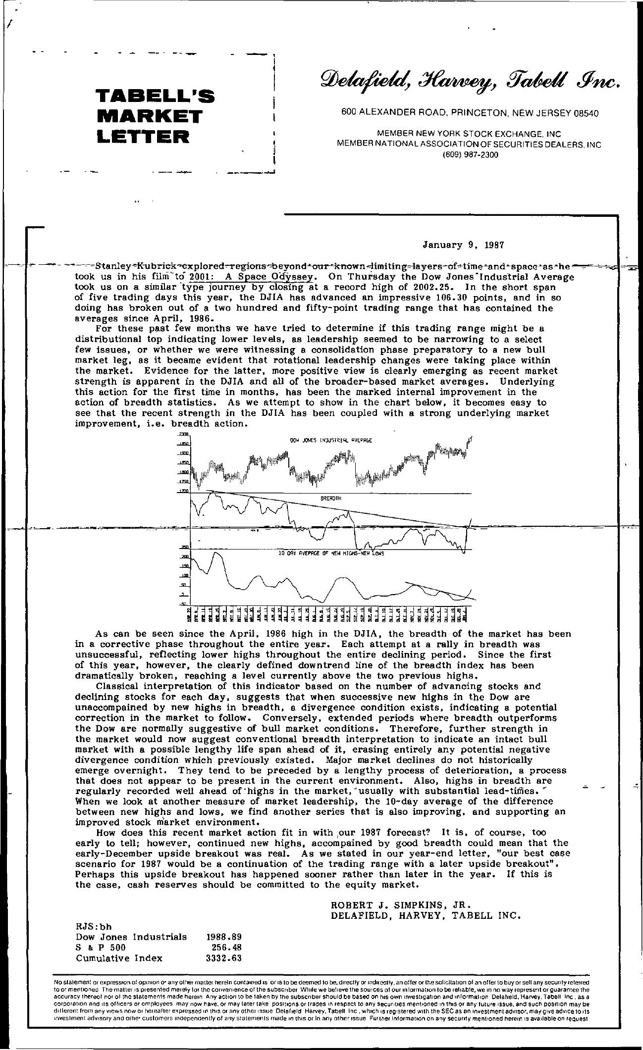 Tabell's Market Letter - January 09, 1987