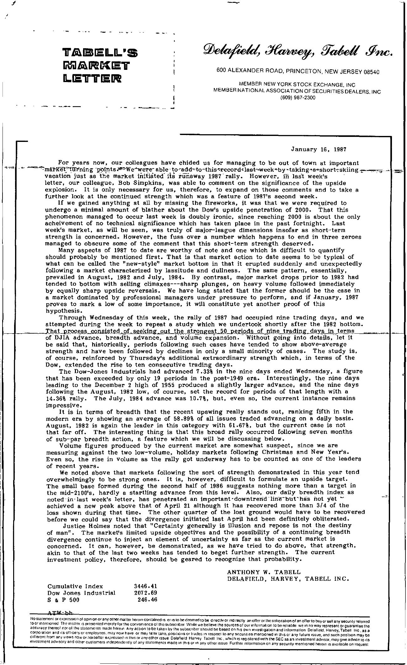 Tabell's Market Letter - January 16, 1987