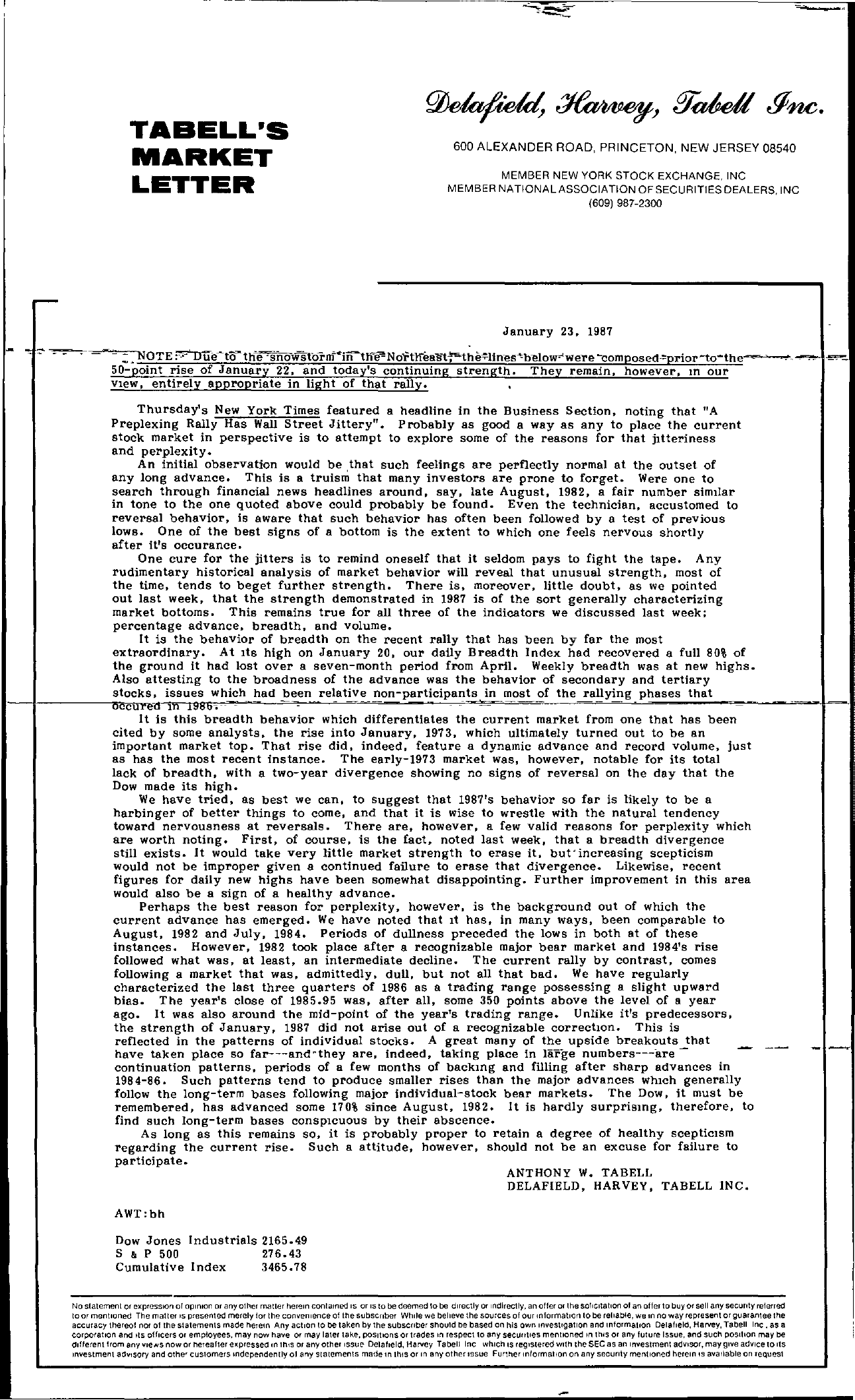 Tabell's Market Letter - January 23, 1987