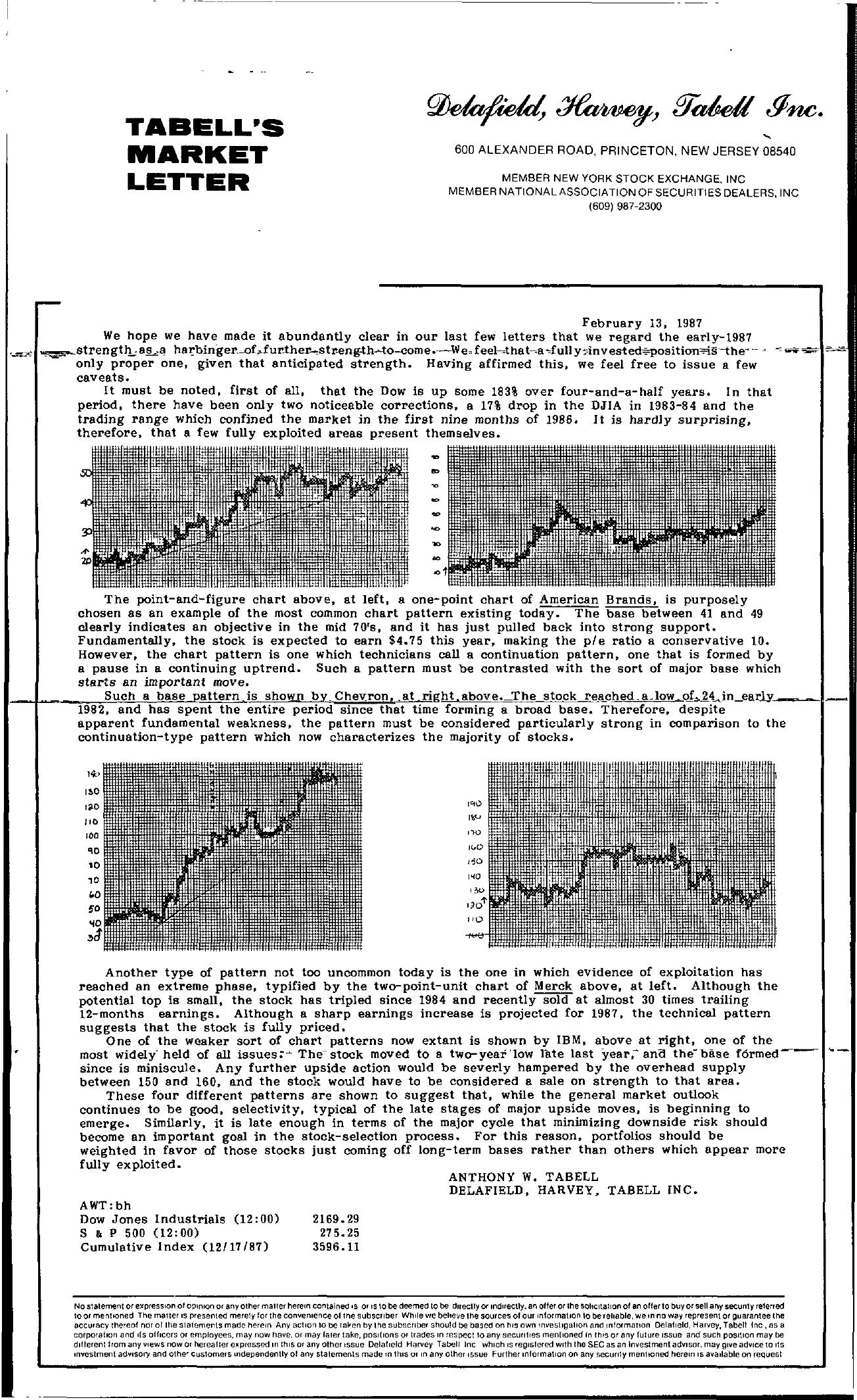 Tabell's Market Letter - February 13, 1987