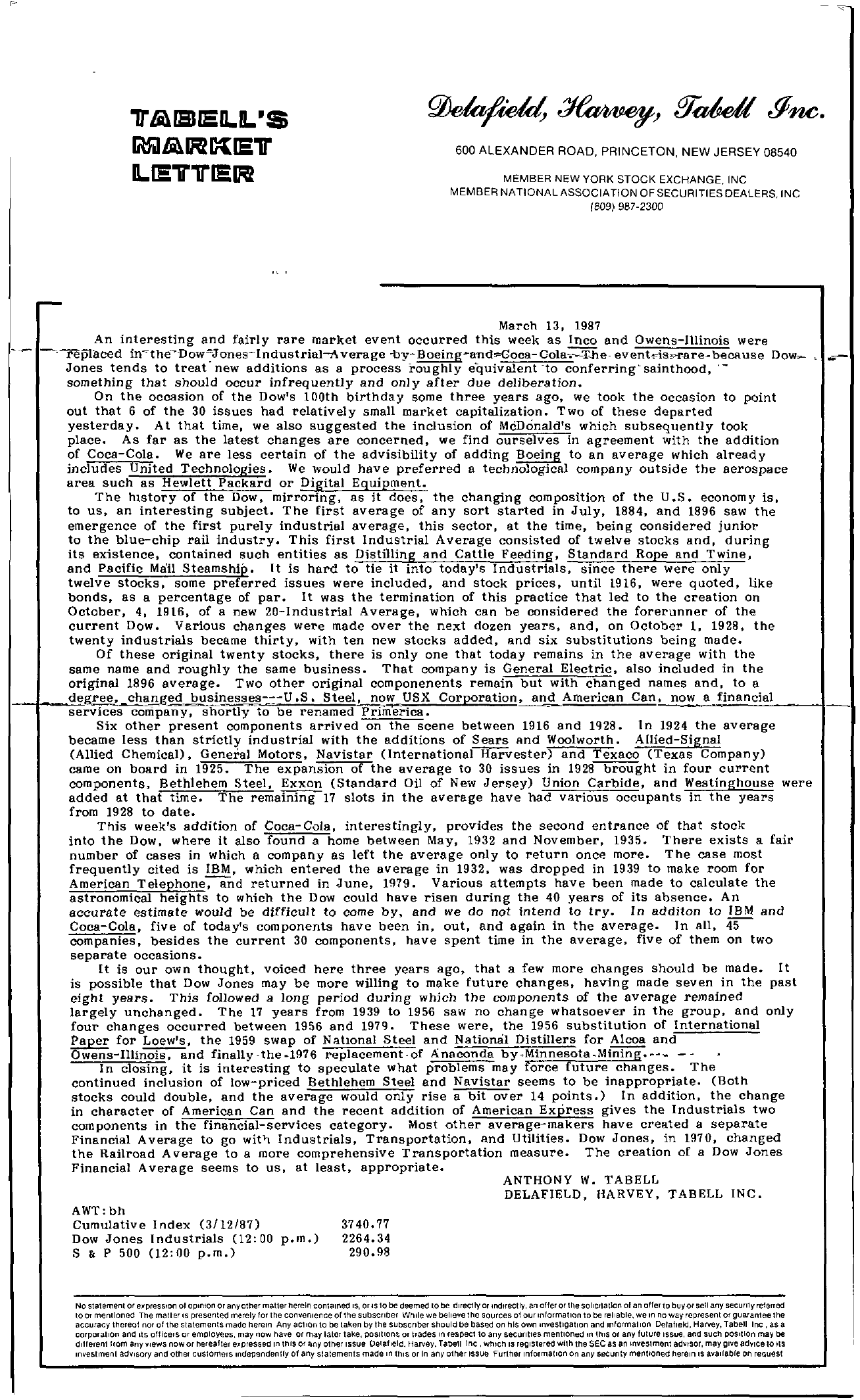 Tabell's Market Letter - March 13, 1987
