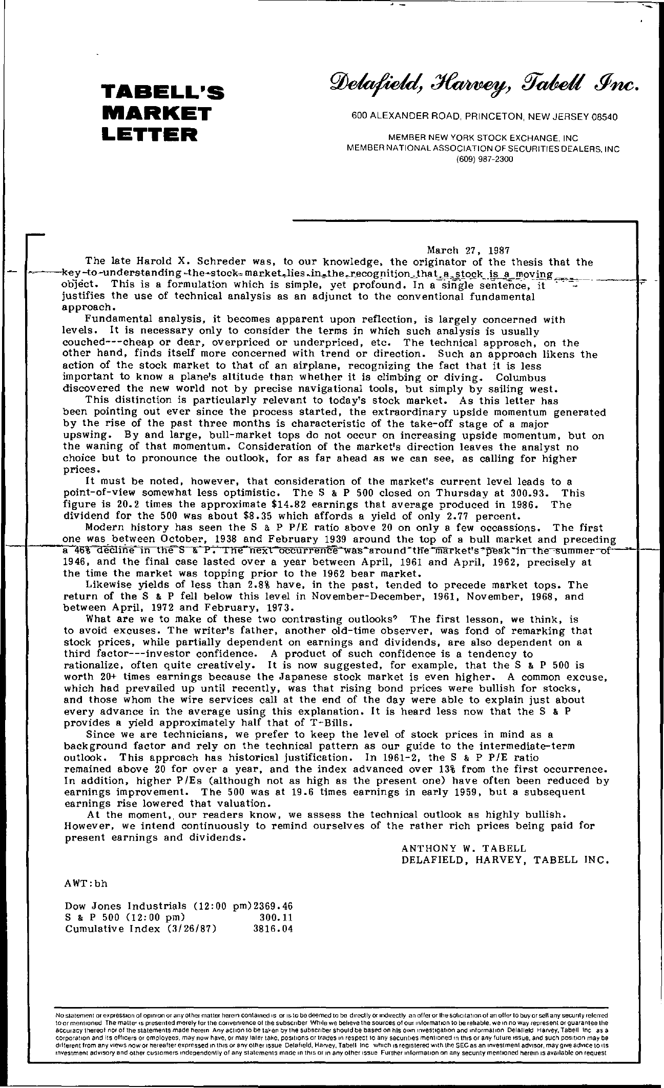 Tabell's Market Letter - March 27, 1987