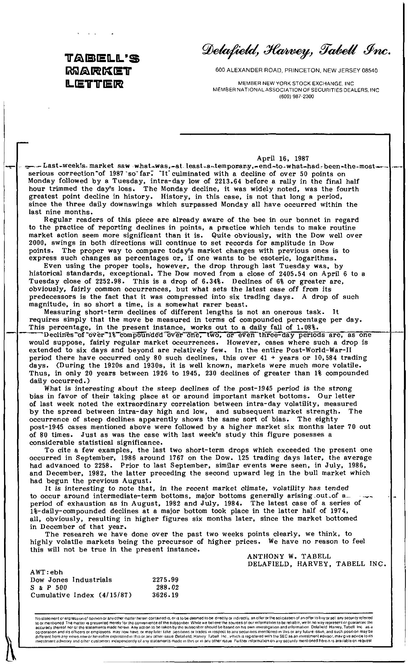 Tabell's Market Letter - April 16, 1987