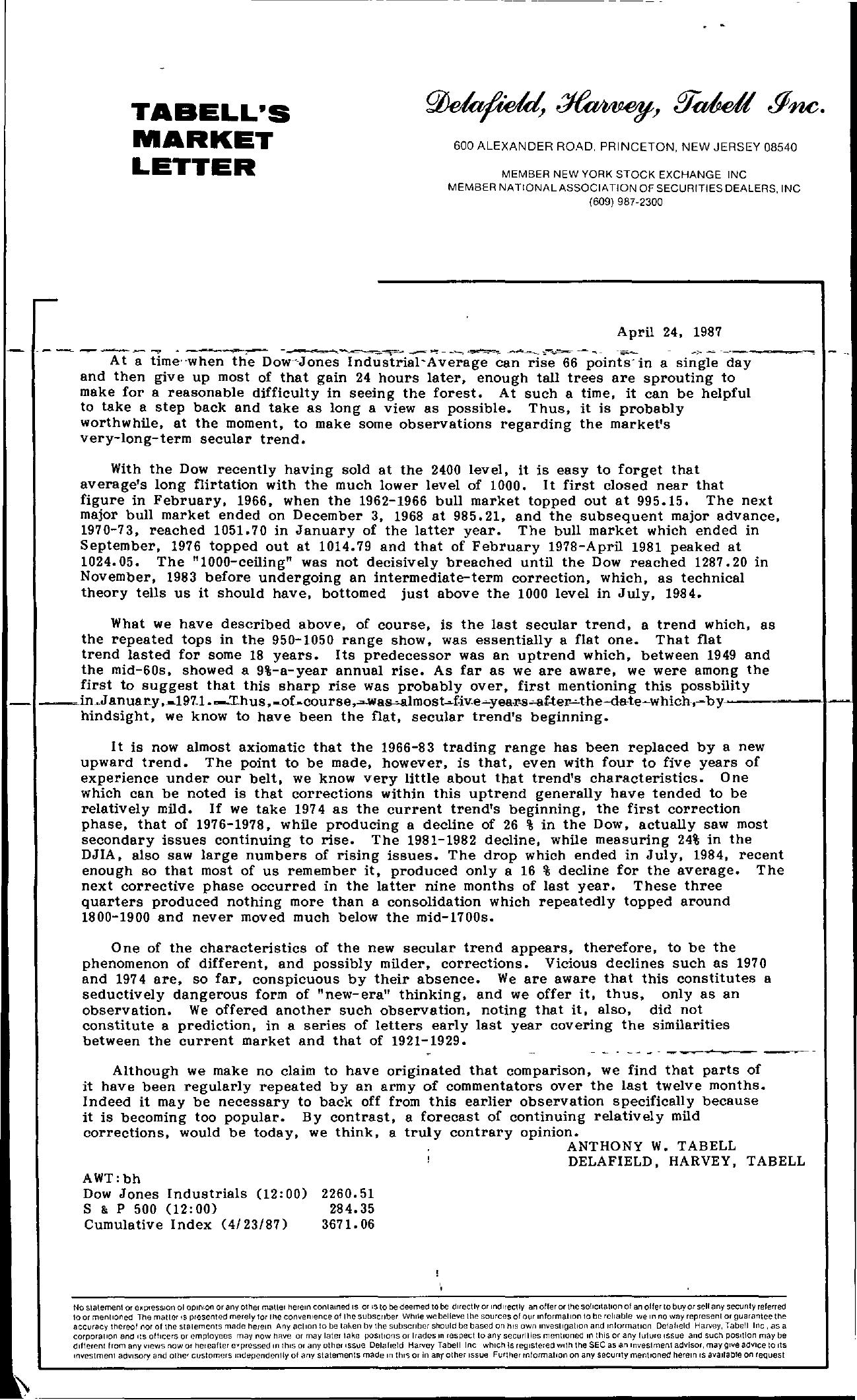 Tabell's Market Letter - April 24, 1987