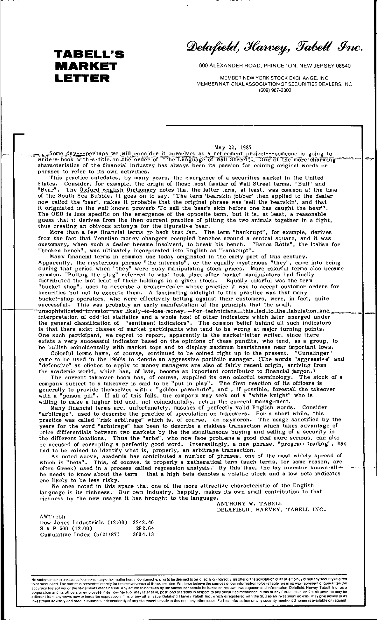 Tabell's Market Letter - May 22, 1987