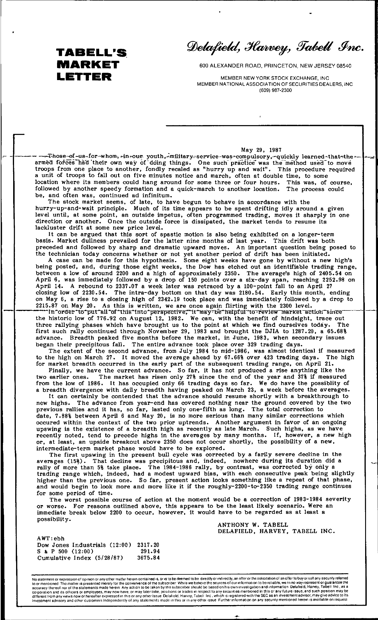 Tabell's Market Letter - May 29, 1987